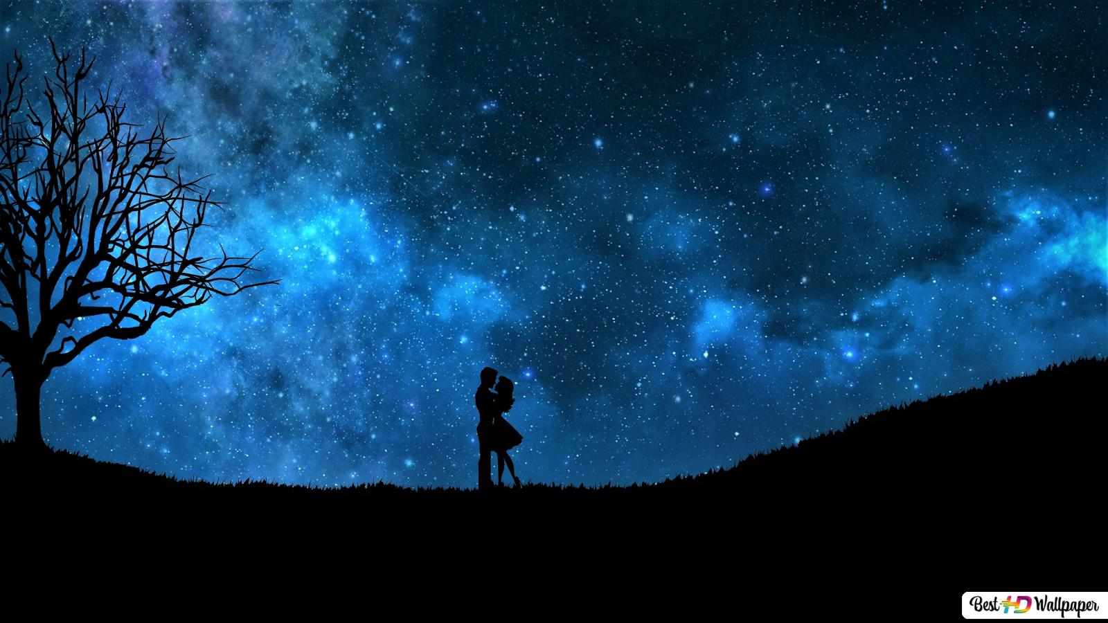 Lovers On A Starry Night Sky Hd Wallpaper Download