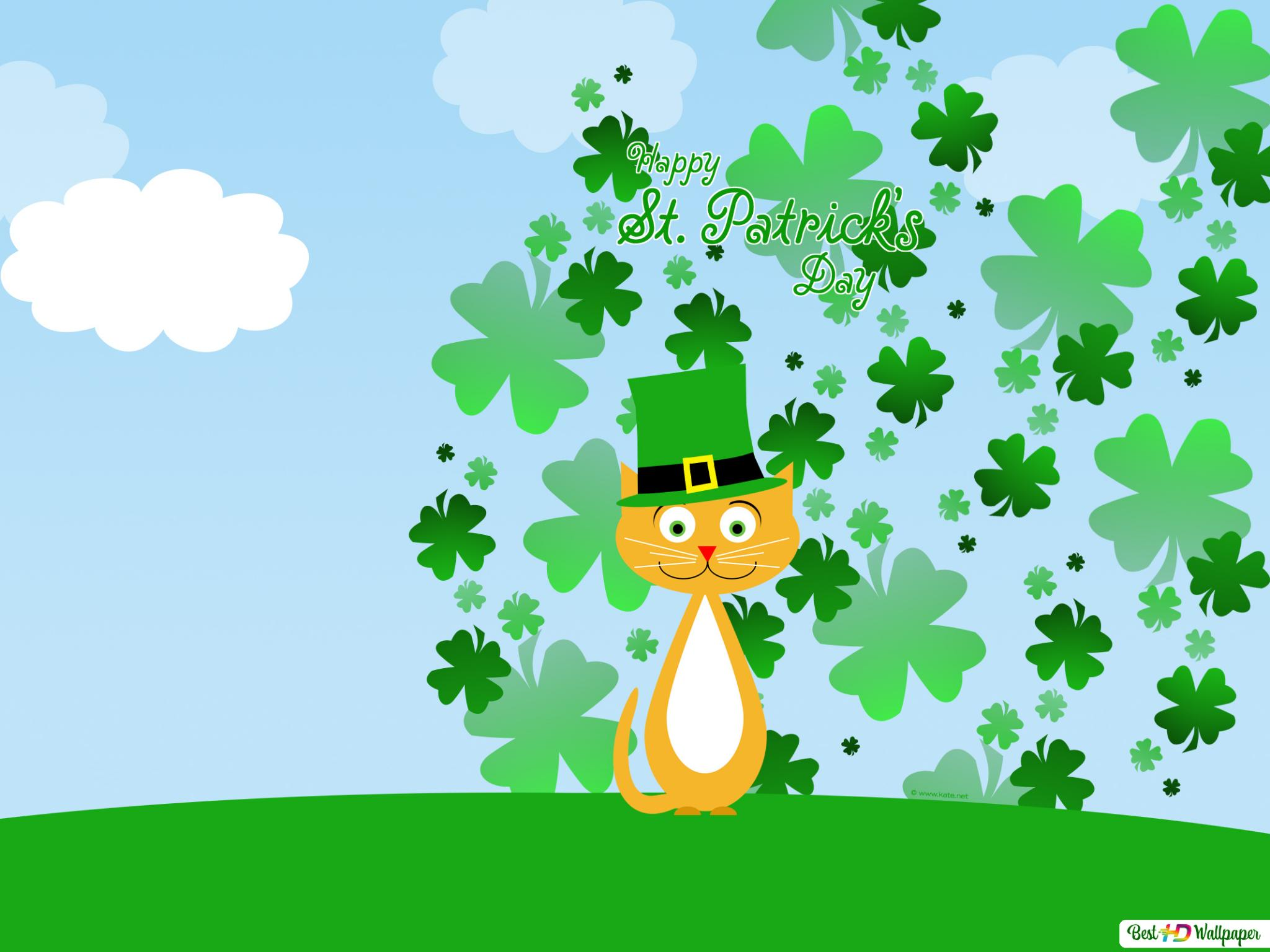 Lucky Cat And Green Hat On St Patrick S Day Hd Wallpaper Download