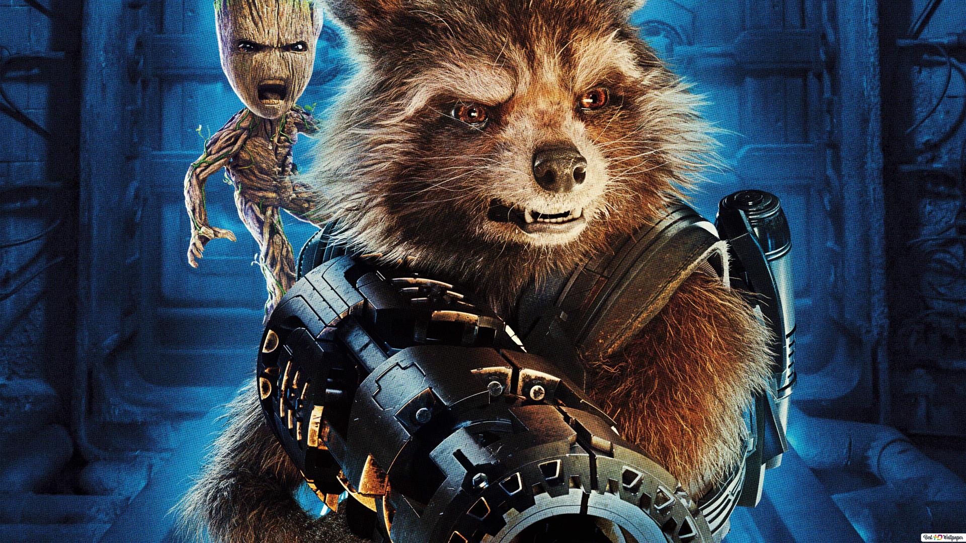 Mad Groot And Rocket Raccoon Hd Wallpaper Download