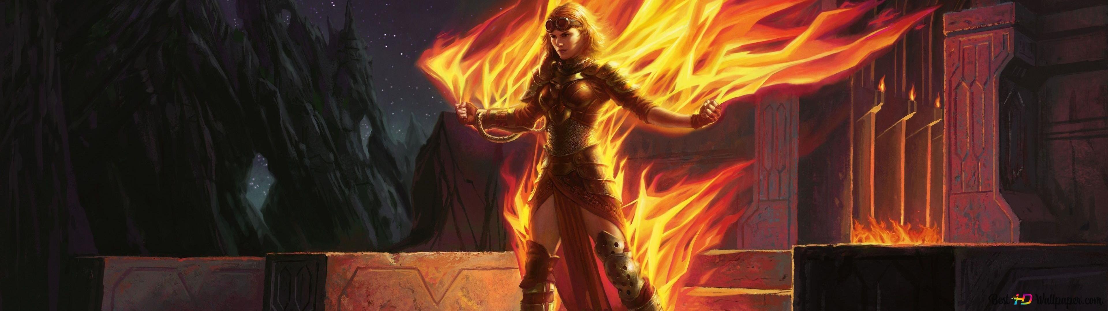 Magical Fire Girl HD wallpaper