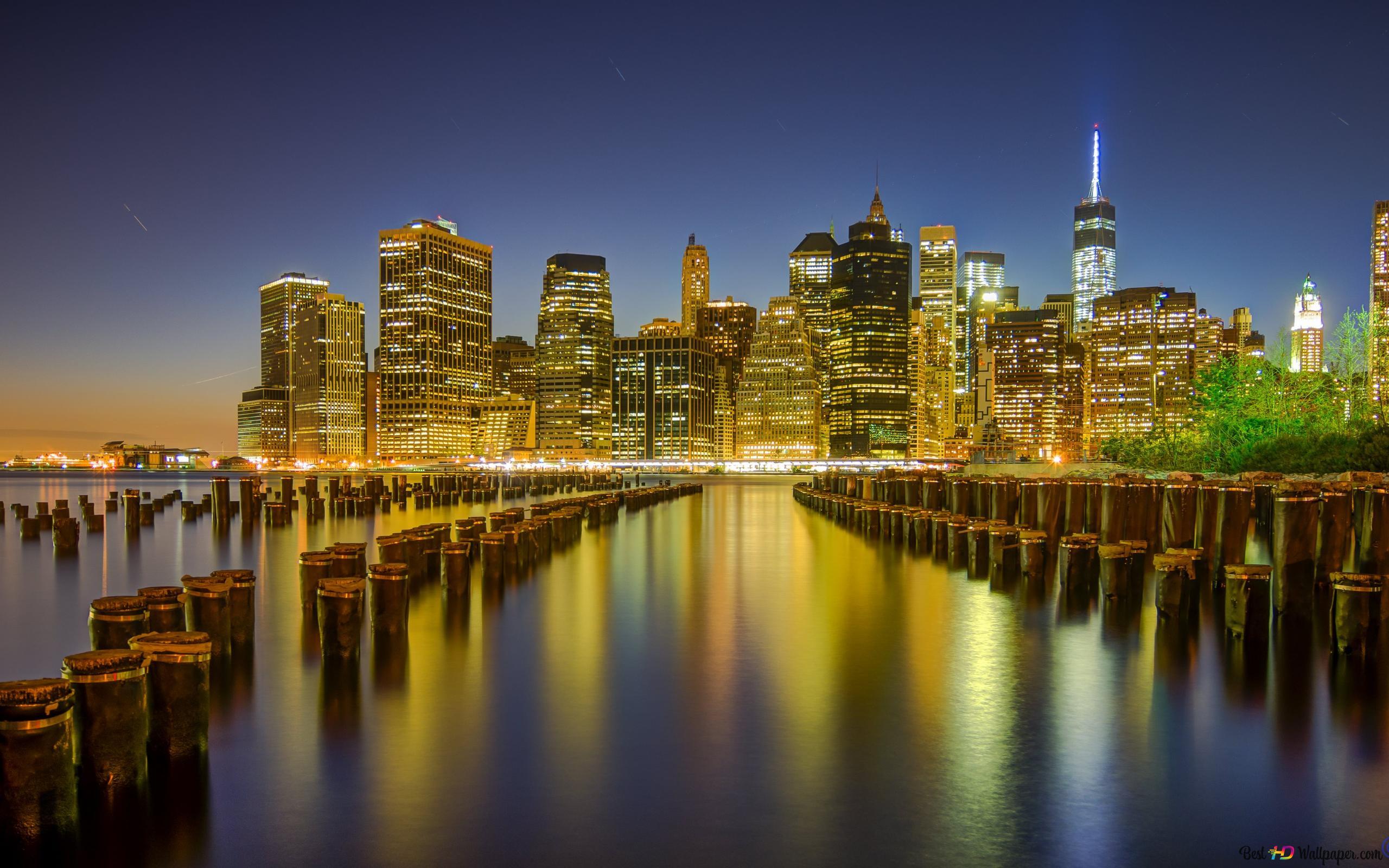 Manhattan Night Wallpaper Hd