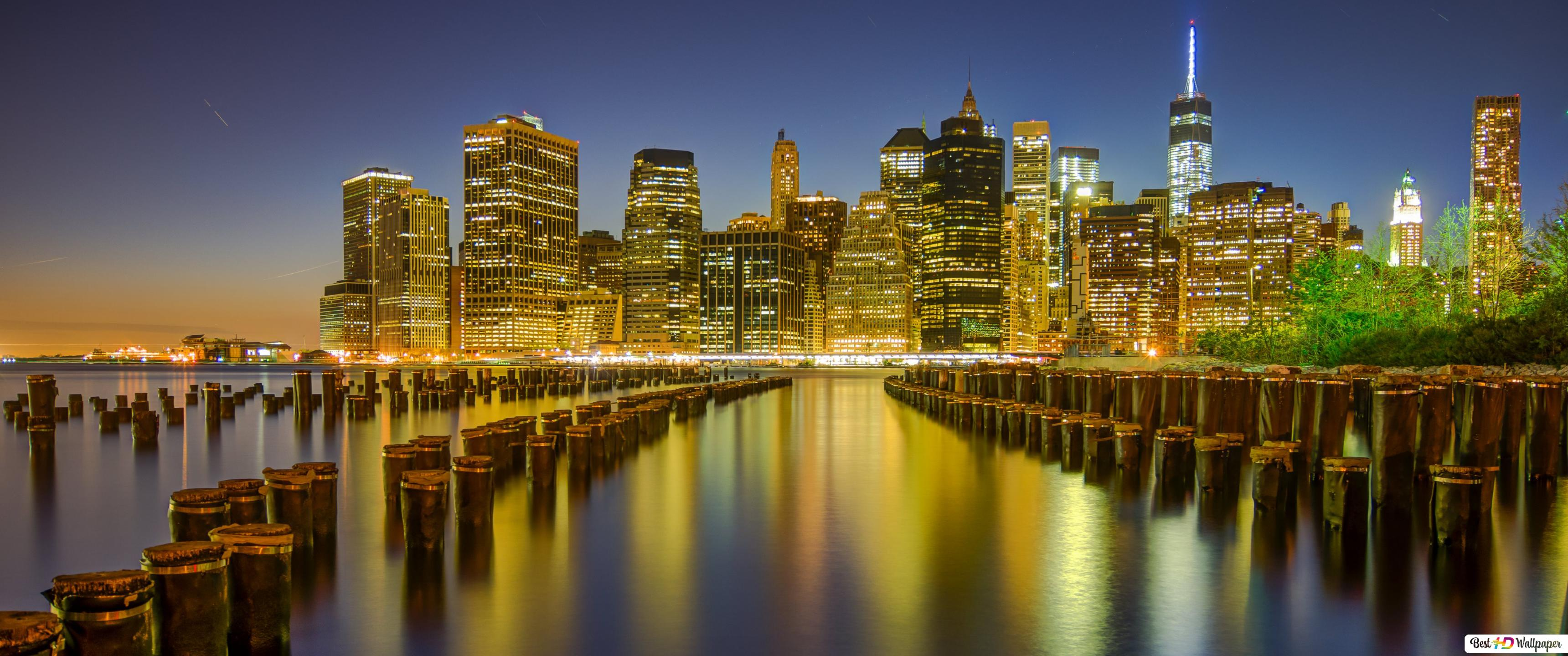Manhattan Nuit New York City Hd Fond Décran Télécharger