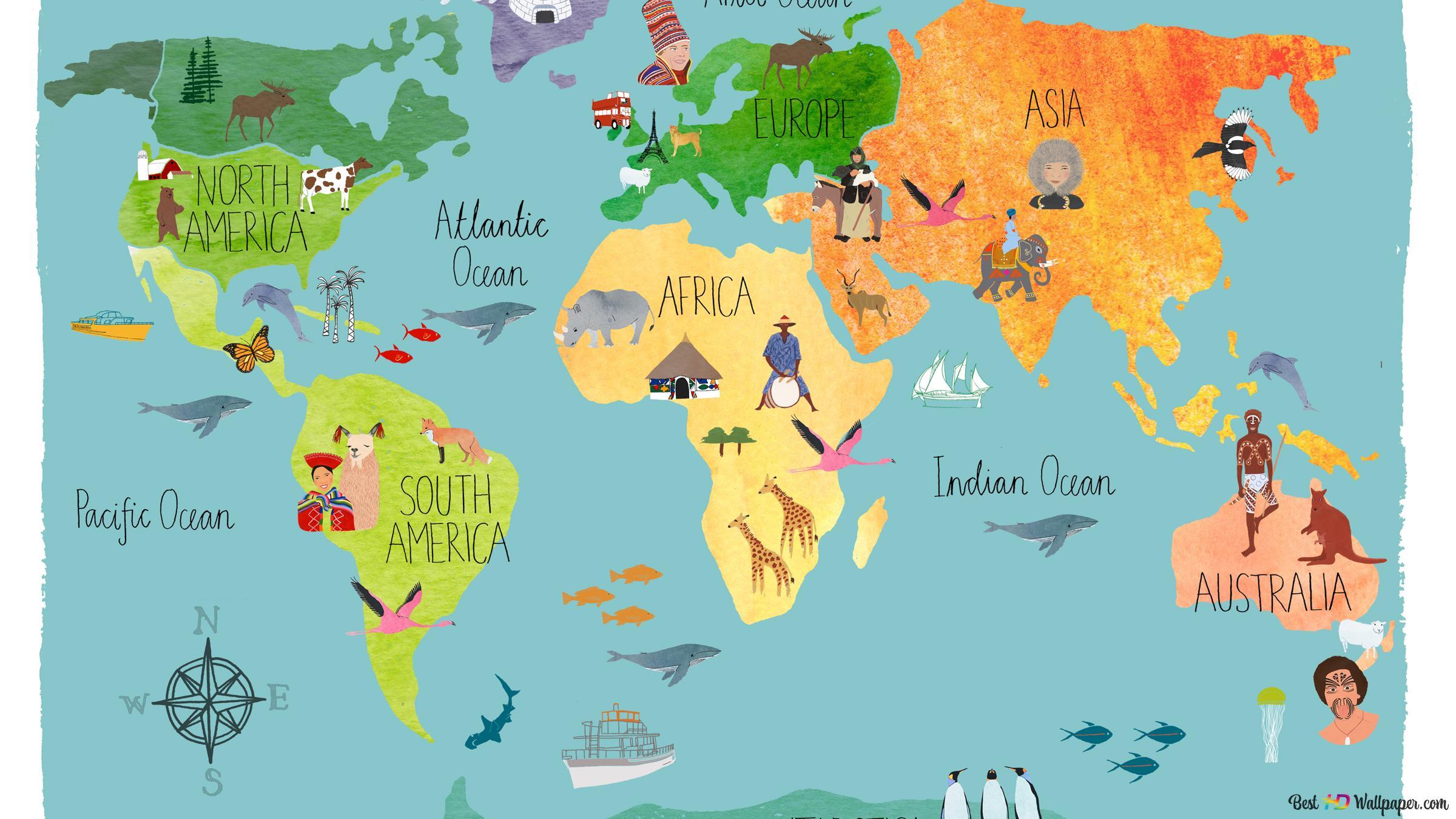 Mapa Do Mundo Para Criancas Hd Wallpaper Download
