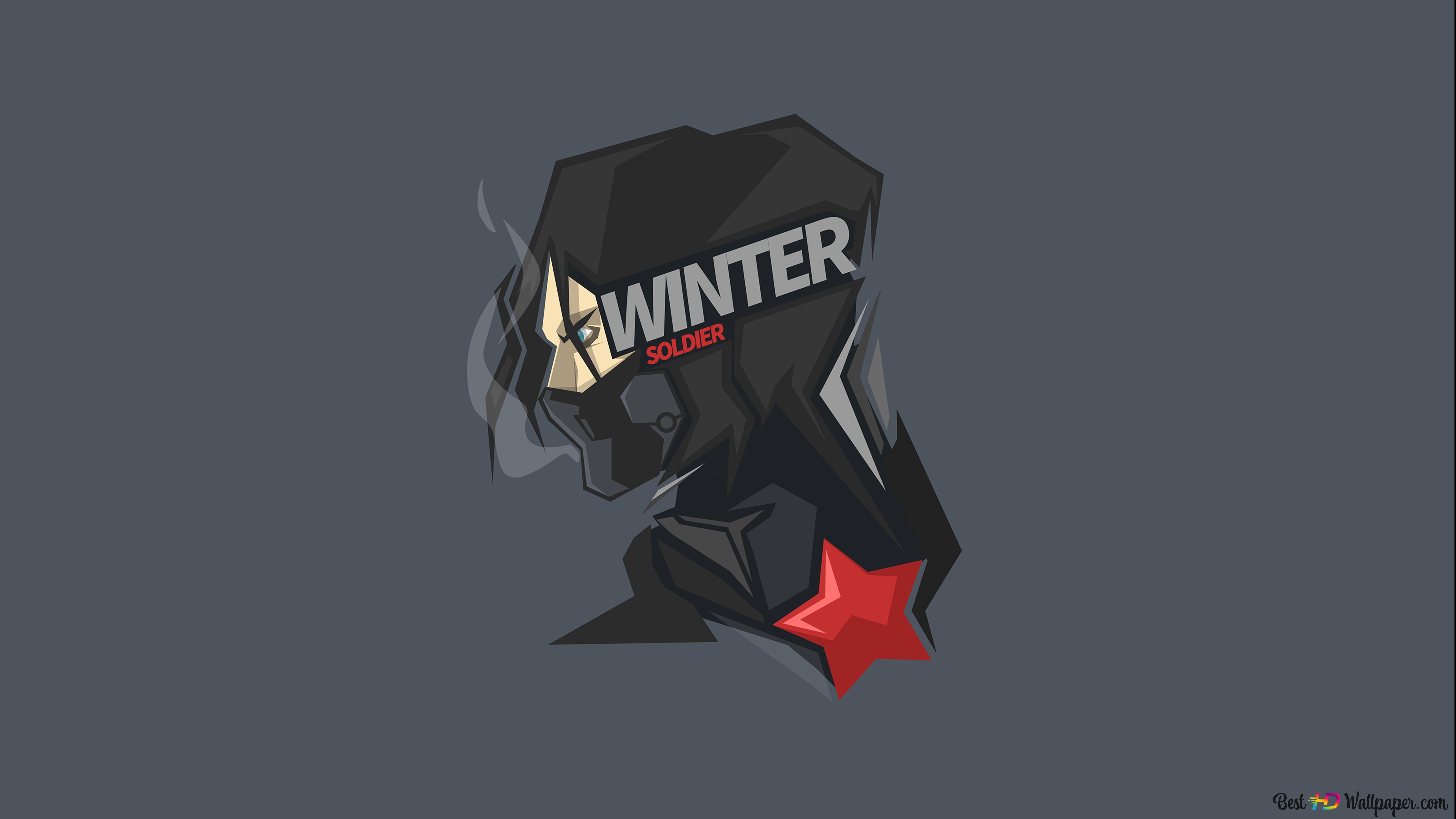 Marvel S Winter Soldier In Gray Wallpaper Minimalist Hd Wallpaper Download