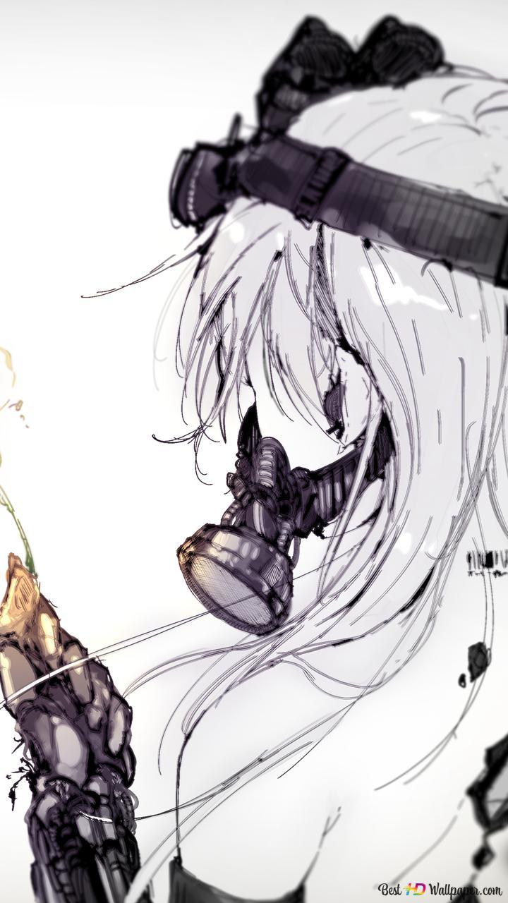 マスクとアニメの女の子 Hd壁紙のダウンロード