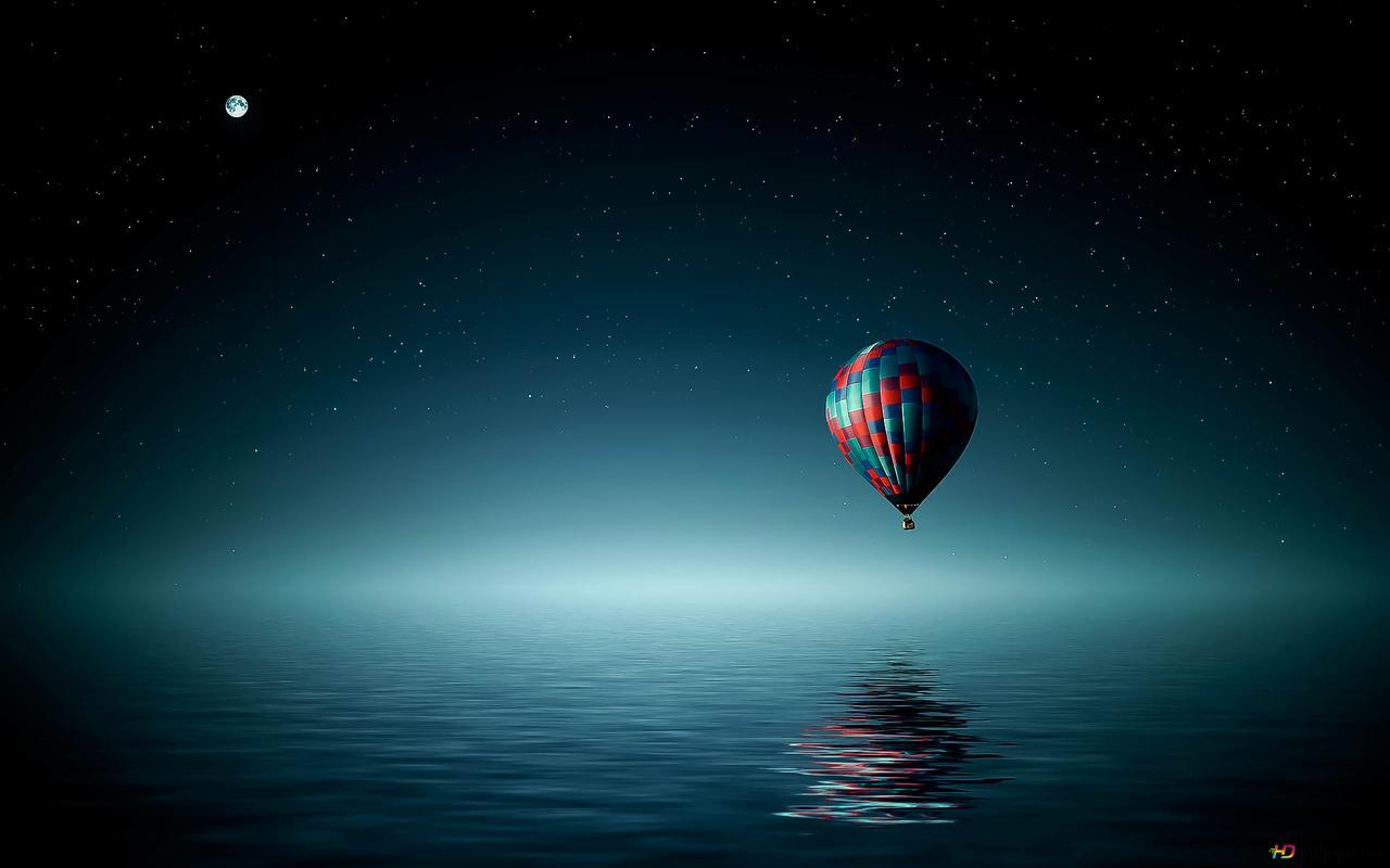 Mongolfiera Sopra Loceano Su Una Notte Di Luna Download Di Sfondi Hd