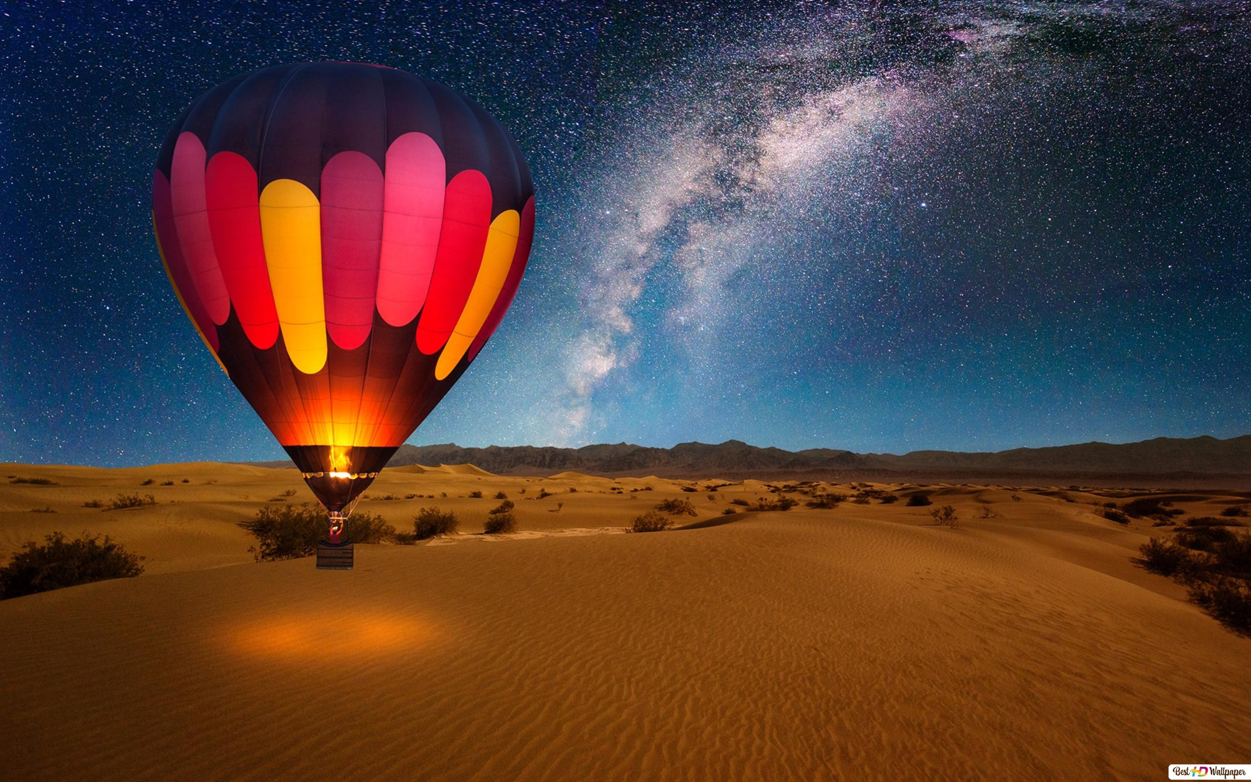 Mongolfiera Su Desert Notte Download Di Sfondi Hd