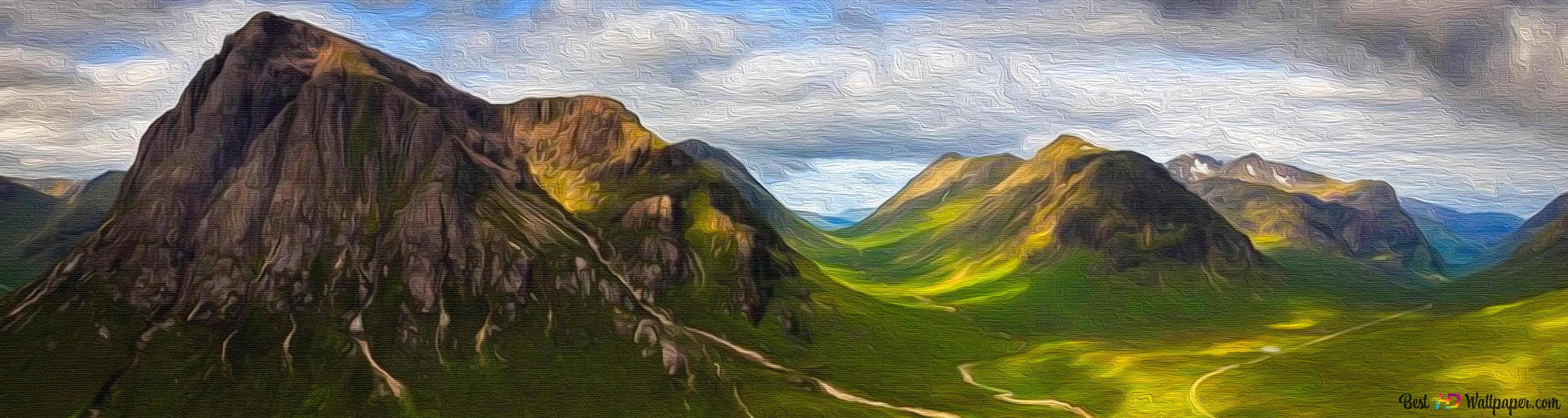 Mountain trail wallpaper download jpg 3840x1024 Wallpaper scotland mountain landscape triple picturesque