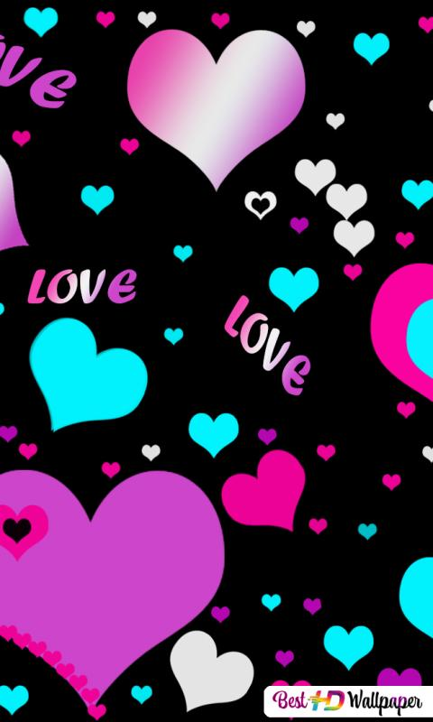 Multicolors Hearts N Love Hd Wallpaper Download