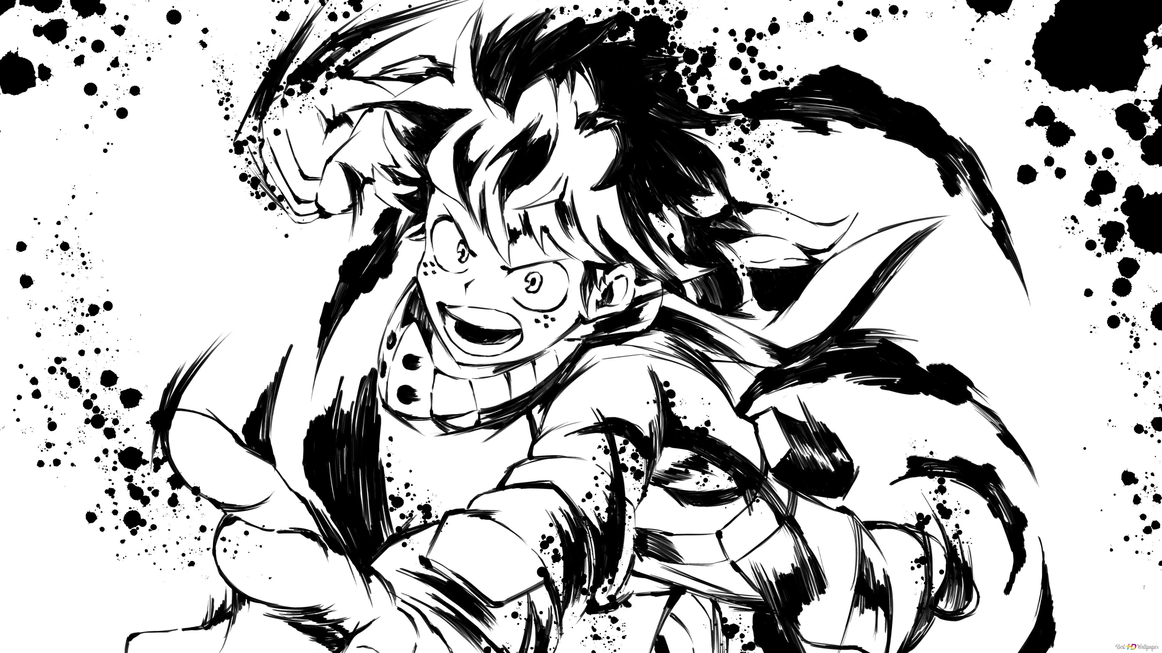 My Hero Academia Izuku Midoriya Black White Art Hd Wallpaper Download