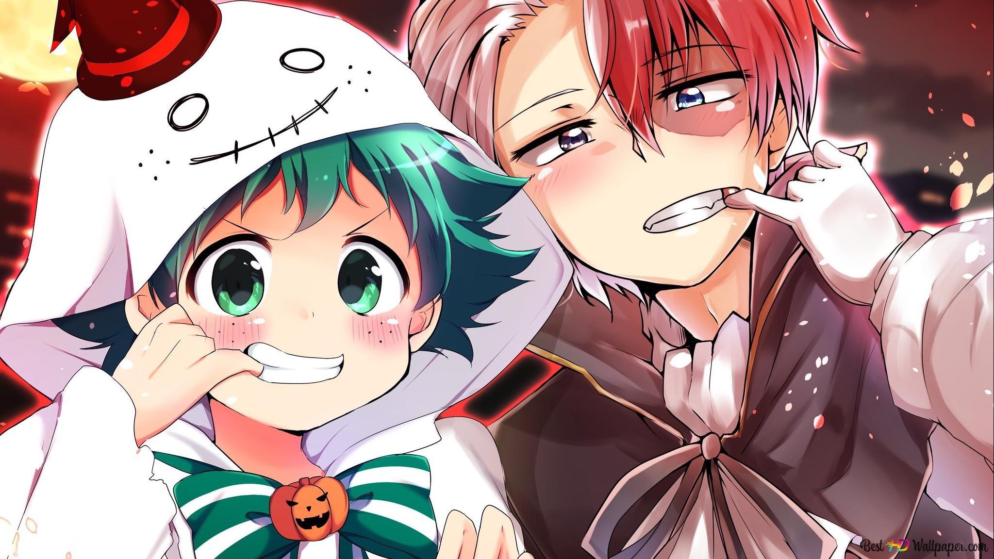 my hero academia izuku midoriya shoto todoroki halloween wallpaper 2048x1152 15319 49