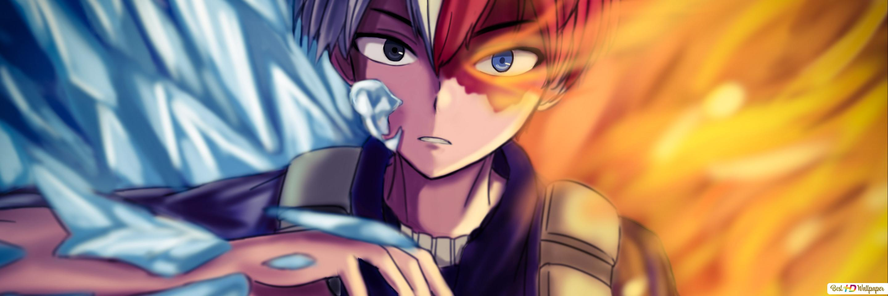 My Hero Academia Shoto Todoroki Fire Ice Hd Wallpaper Download