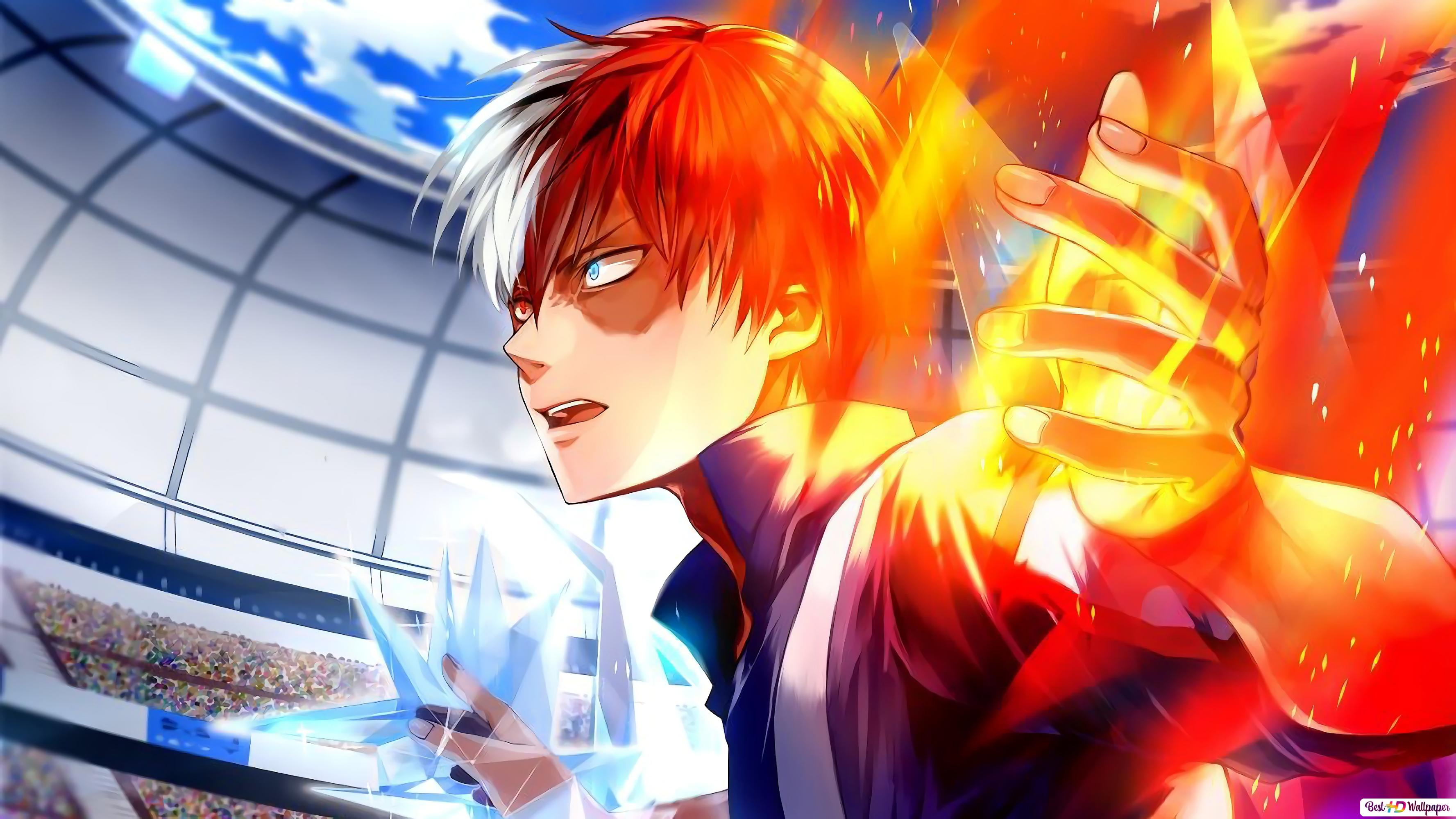 My Hero Academia The Flame Hero Shoto Todoroki Hd Wallpaper