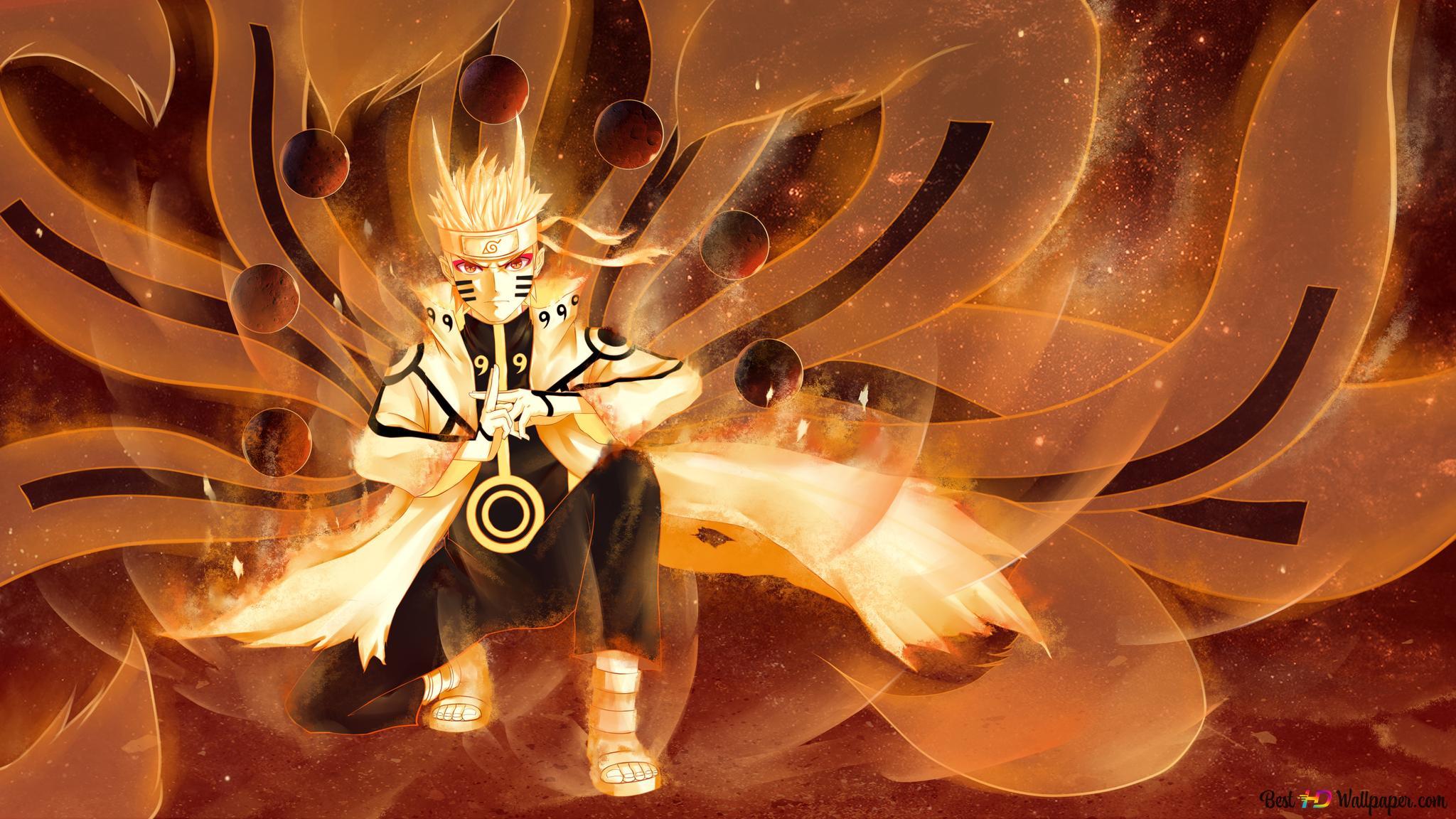 Naruto Shippuden Naruto Uzumaki Nine Mode Tail Hd Fond D