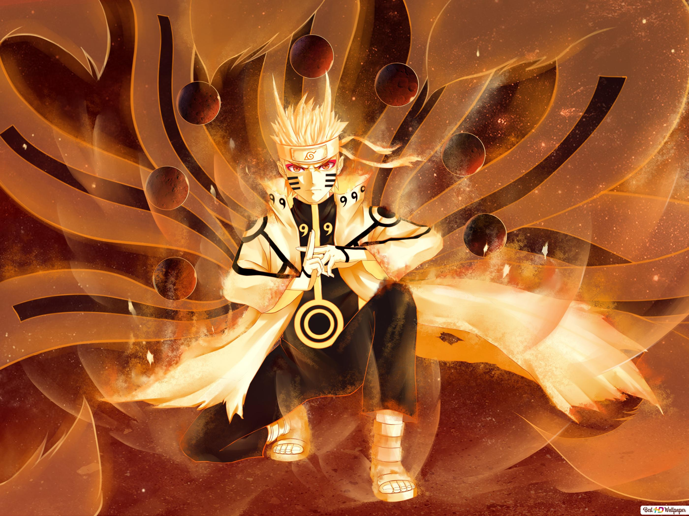 Naruto Shippuden - Naruto Uzumaki Nine Mode Tail HD fond d'écran télécharger