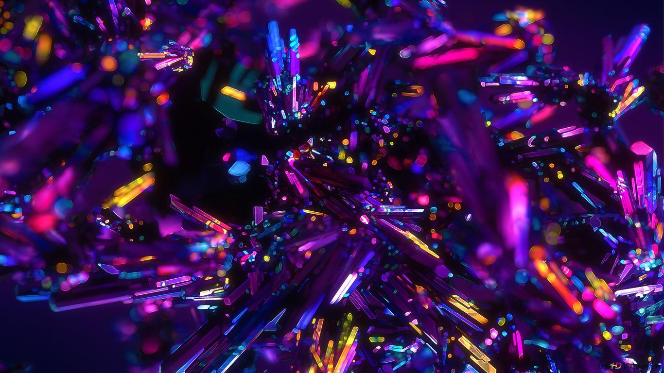 Neon Crystals HD wallpaper download