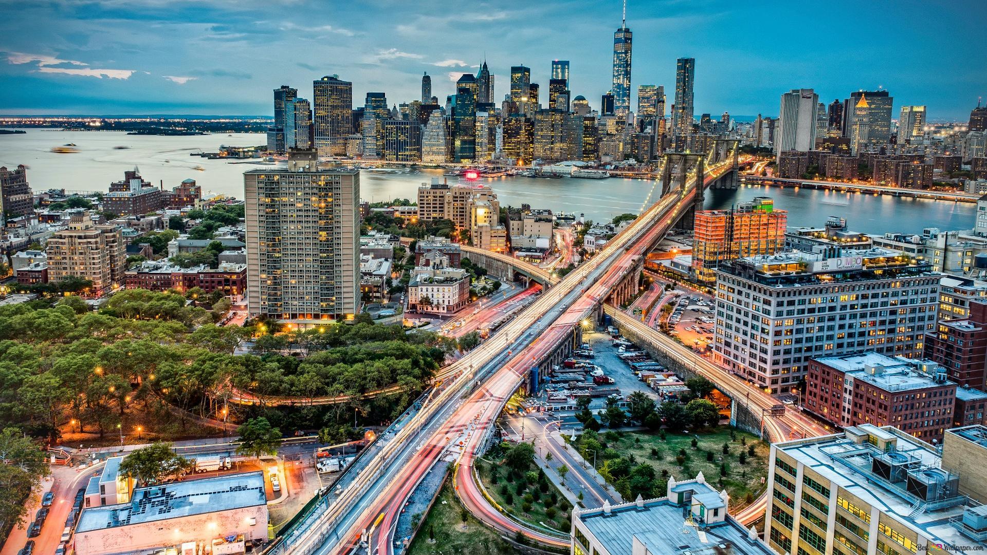 New York City Flyover Hd Hintergrundbilder Herunterladen