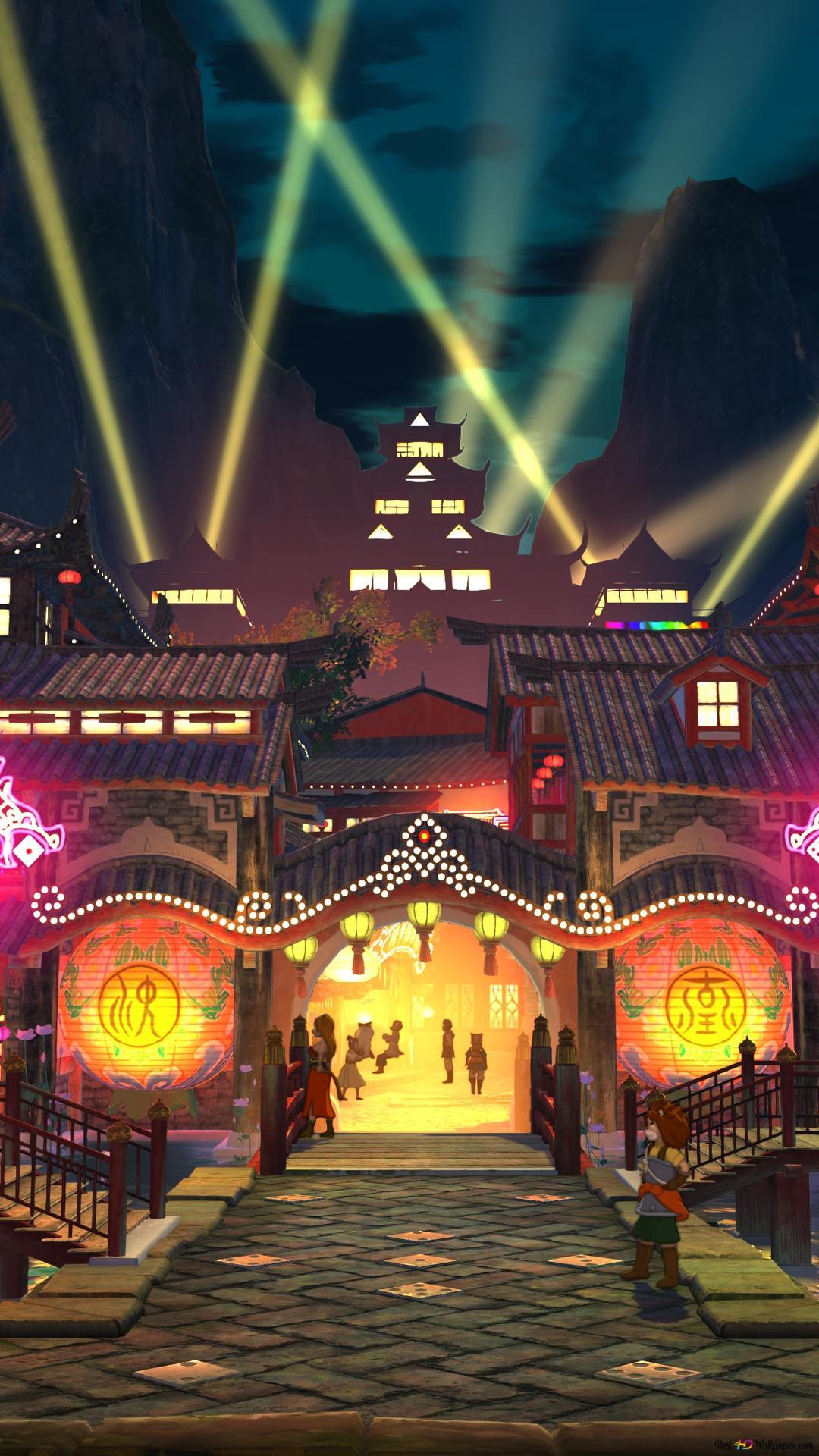 Ni No Kuni Ii City At Night Hd Wallpaper Download