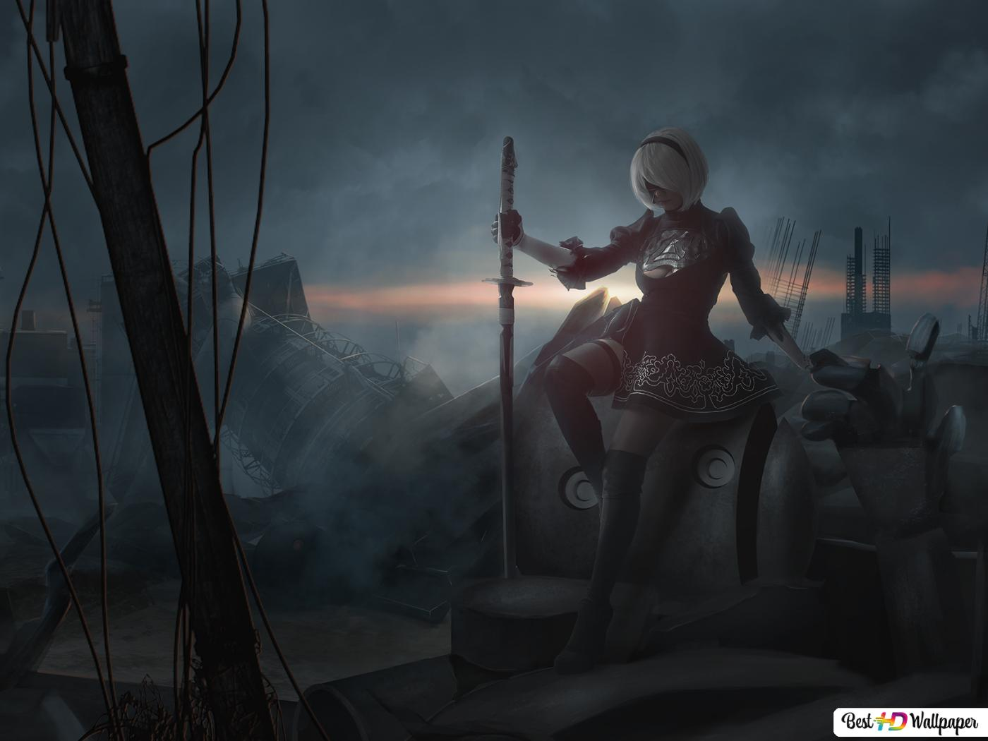 Nier Automata Video Game Dark Spirit Yorha 2b Hd Wallpaper