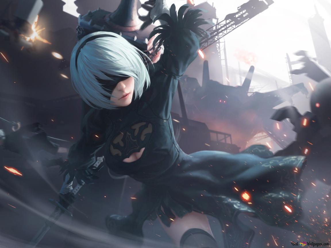 Nier Automata Video Game Yorha 2b In Battle Hd Wallpaper Download