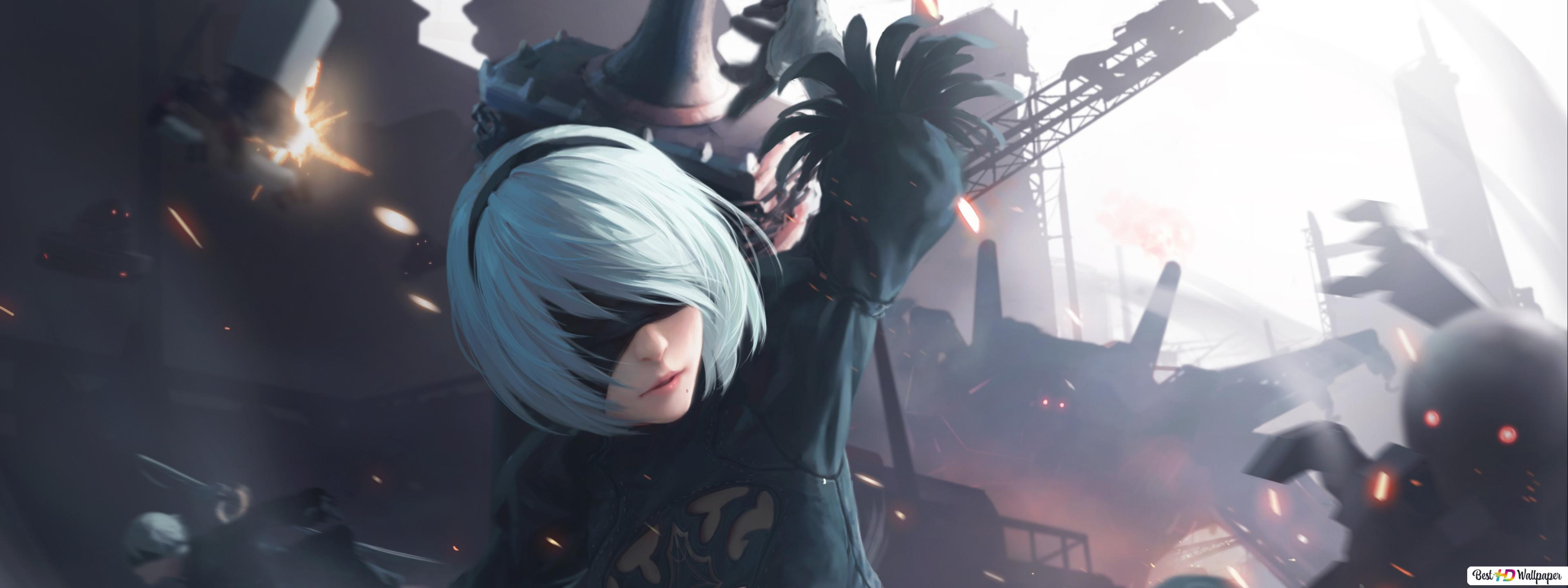 Nier Automata Video Game Yorha 2b In Battle Hd Wallpaper Download