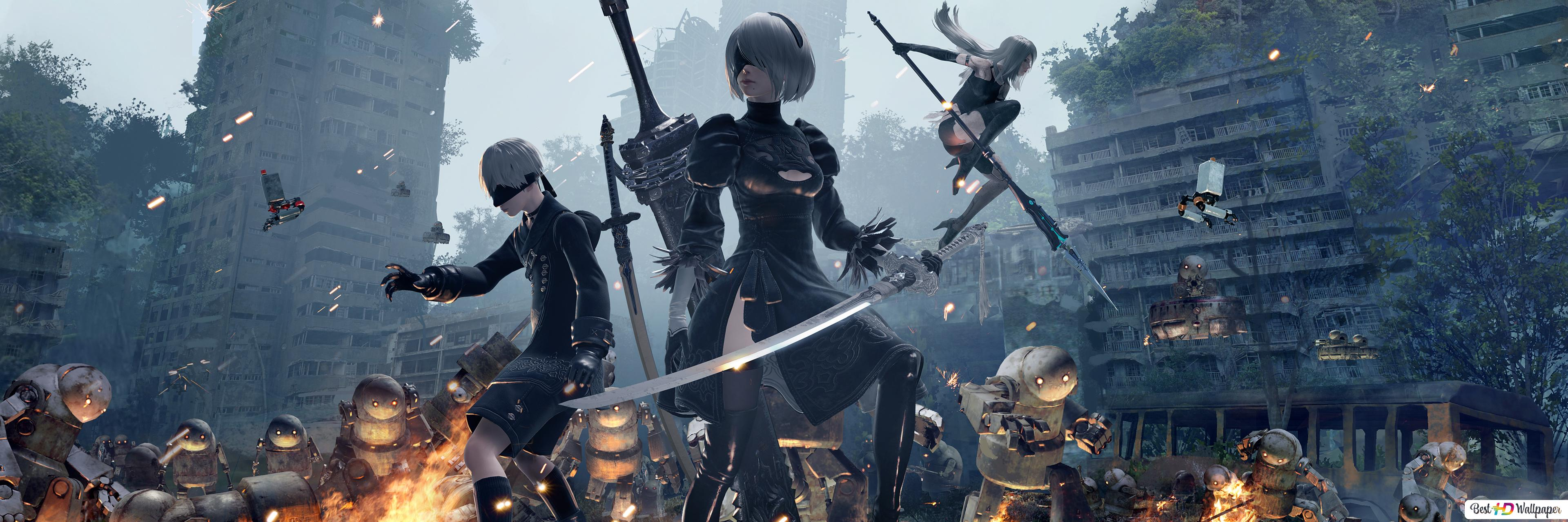 Nier Automata Video Game Yorha 9s 2b And A2 Hd Wallpaper Download
