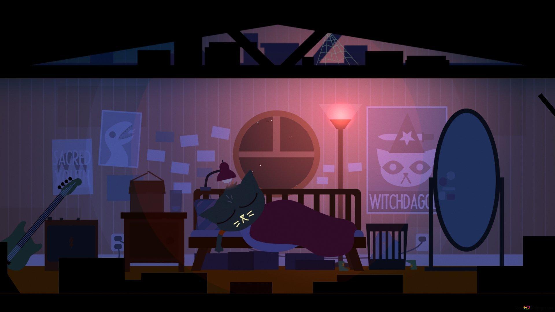 Night In The Woods Sleeping Cat Hd Wallpaper Download