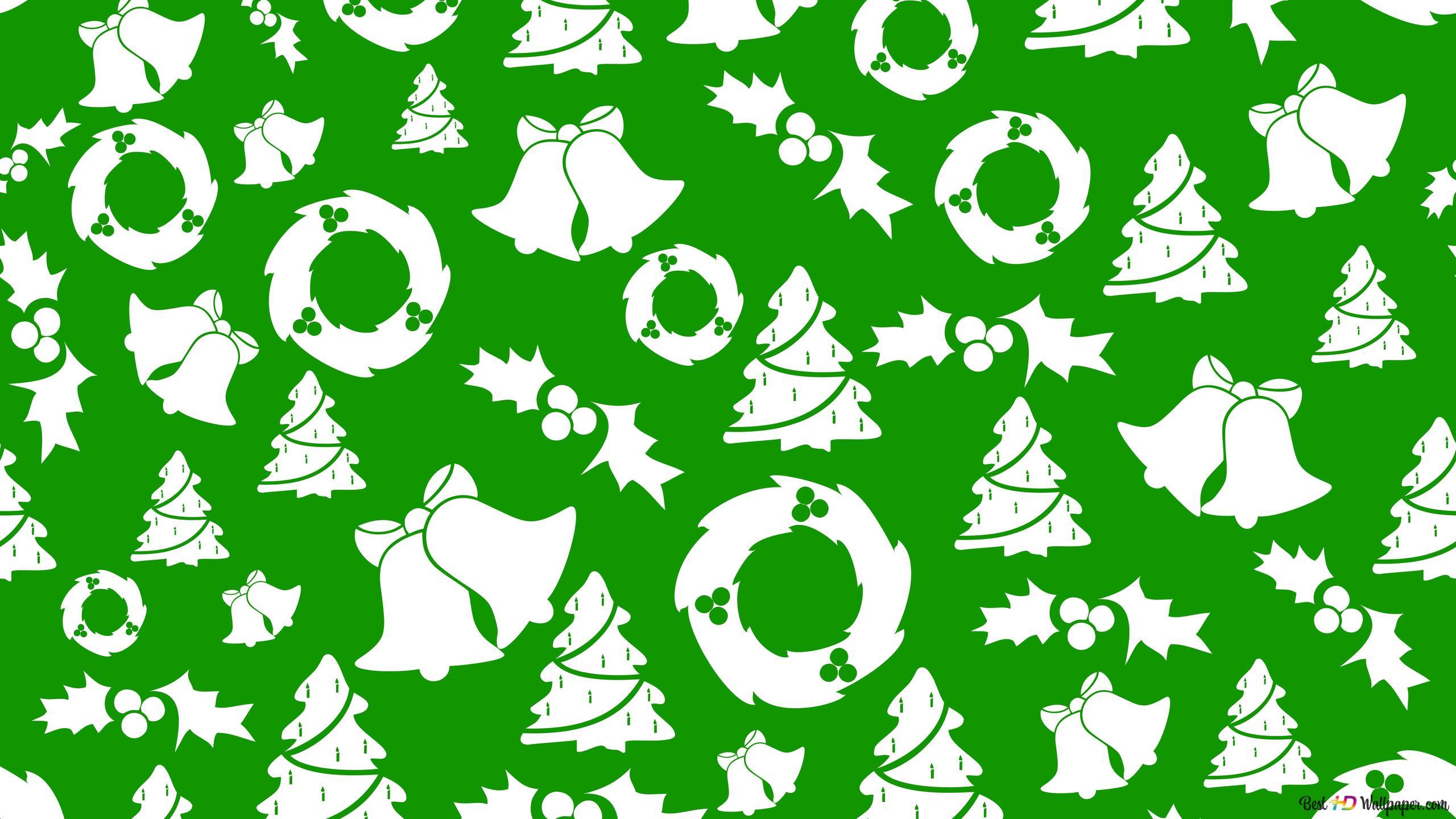 Noël Dans Un Babioles Modèle Blanc Et Vert Hd Fond Décran