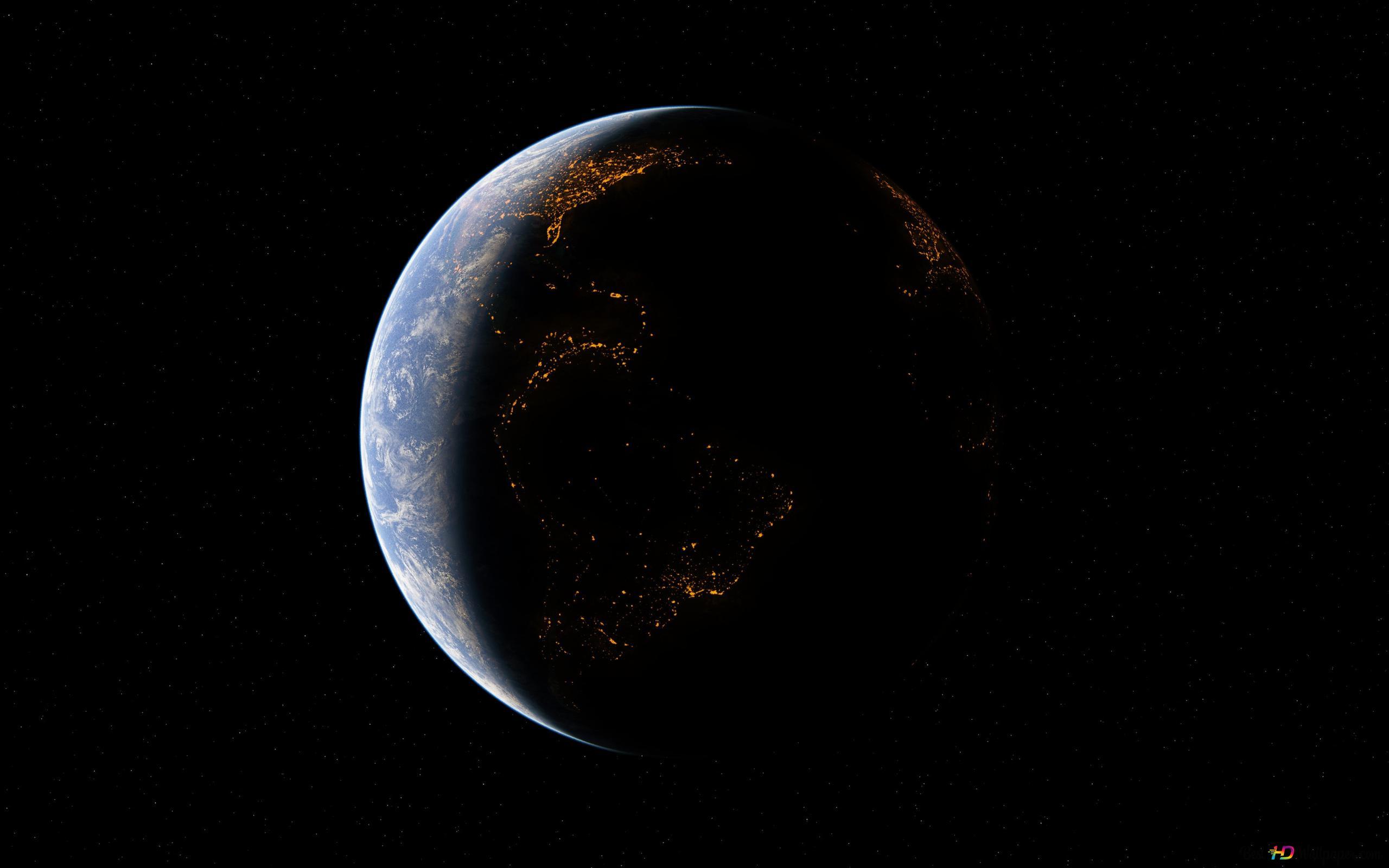 Notte La Terra Dallo Spazio Download Di Sfondi Hd