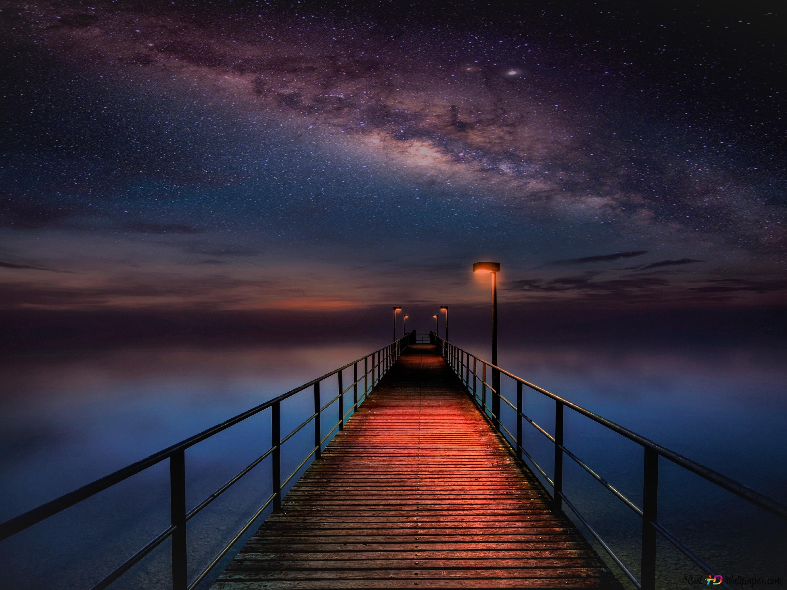 Ocean Pier Sous La Voie Lactée Sky Hd Fond Décran Télécharger