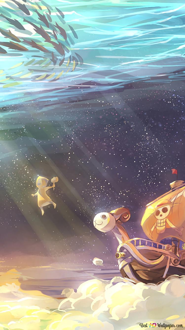 One Piece Gehendes Frohlich Hd Hintergrundbilder Herunterladen