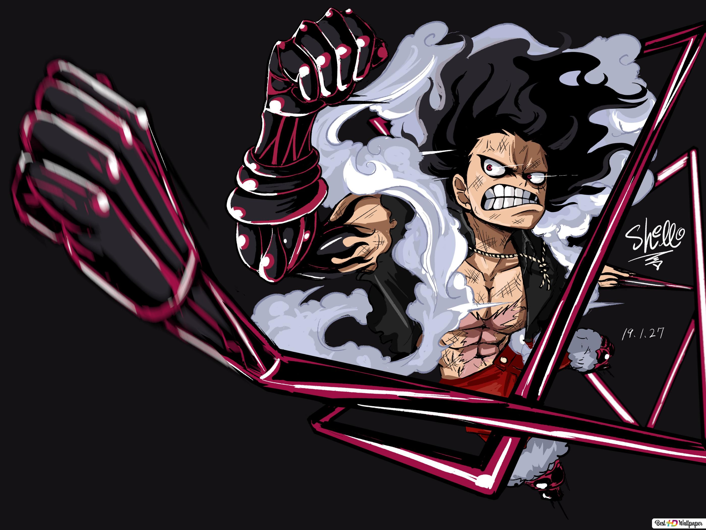 One Piece Monkey D Luffy Aksesoris Empat Snakeman Unduhan Wallpaper Hd