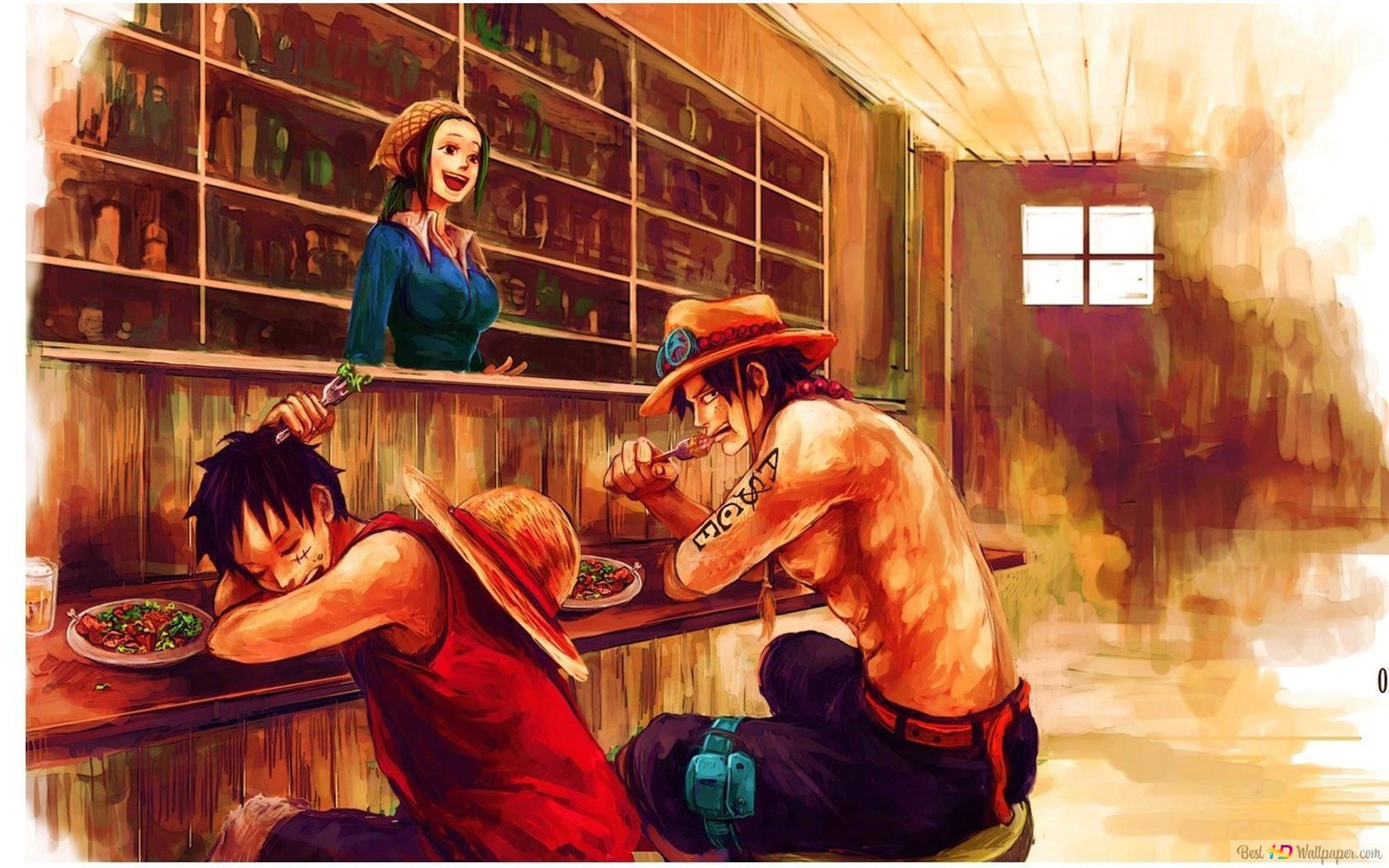 One Piece Monkey D Luffy Portgas D Ace Eating Hd