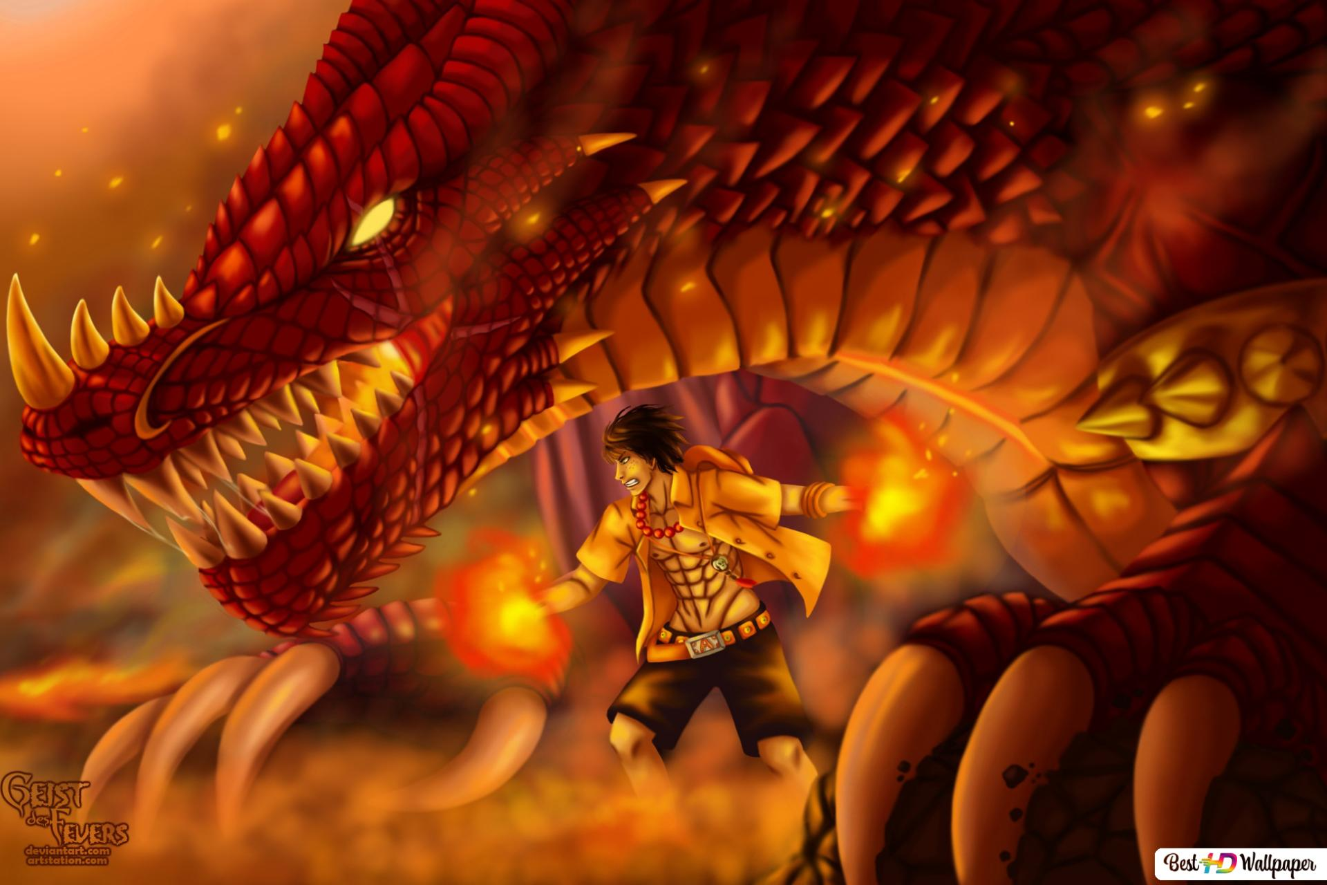 One Piece Portgas D Ace Dragon Fogo Hd Wallpaper Download