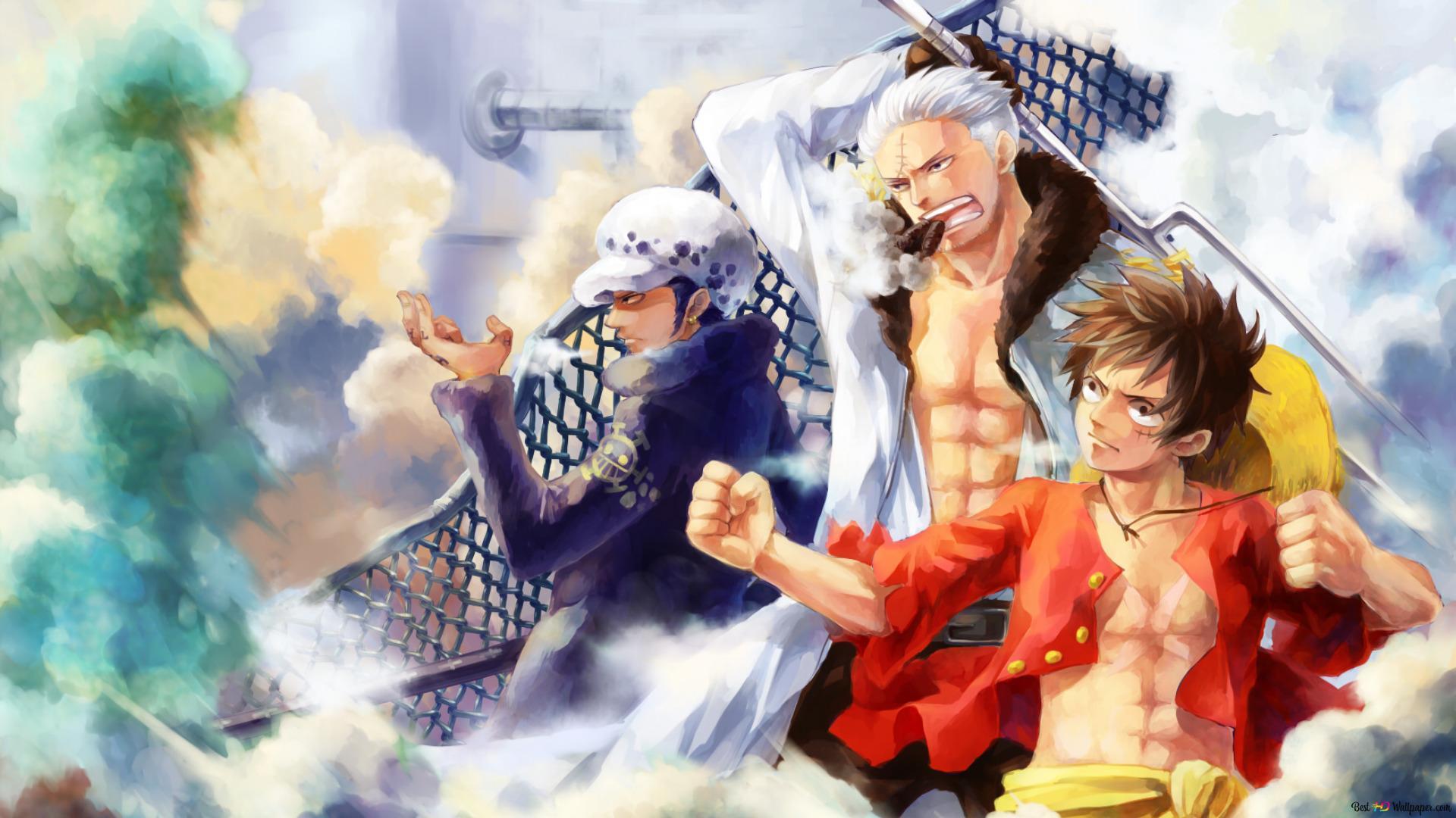 One Piece Trafalgar D Water Law Smoker Monkey D Luffy Hd Wallpaper Download