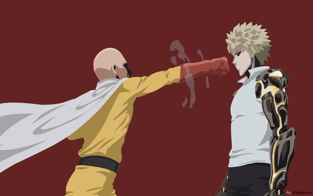 One Punch Man Genos Saitama Minimalist Hd Wallpaper Download