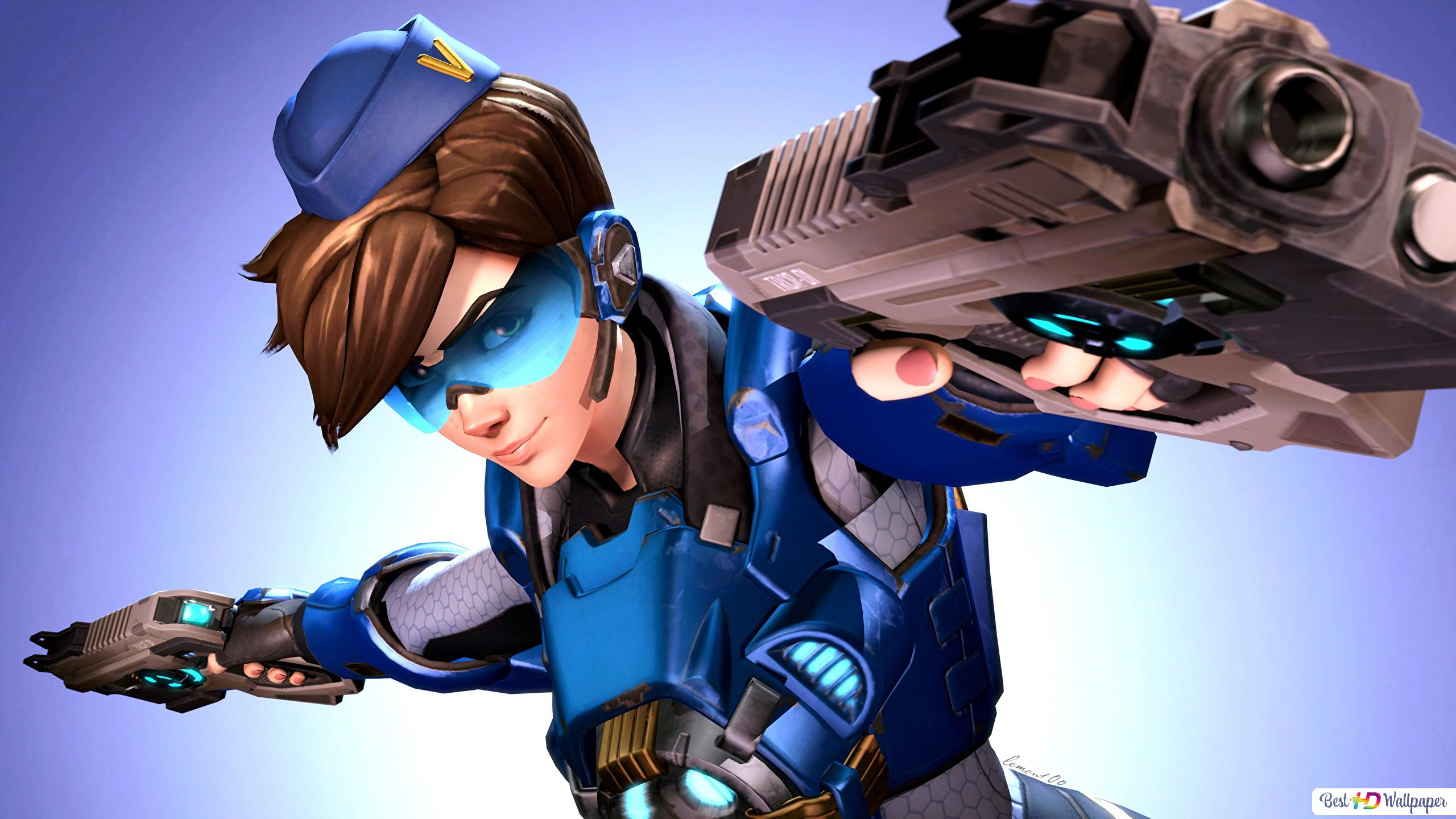 Overwatch Game Tracer With Pistols Hd Wallpaper Download