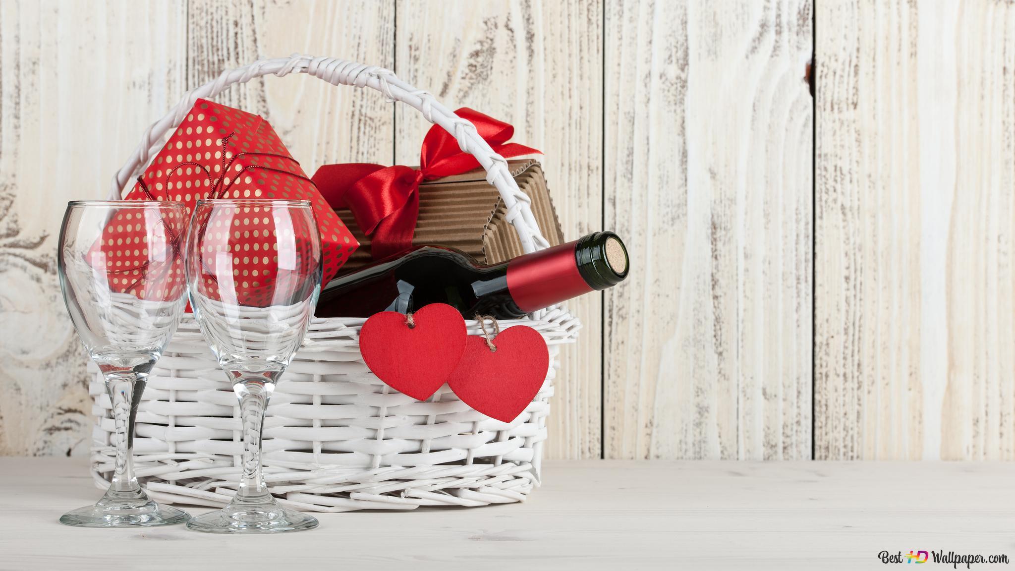 Panier De Vins Et Cadeaux Avec Fond En Bois Blanc Hd Fond D Ecran Telecharger