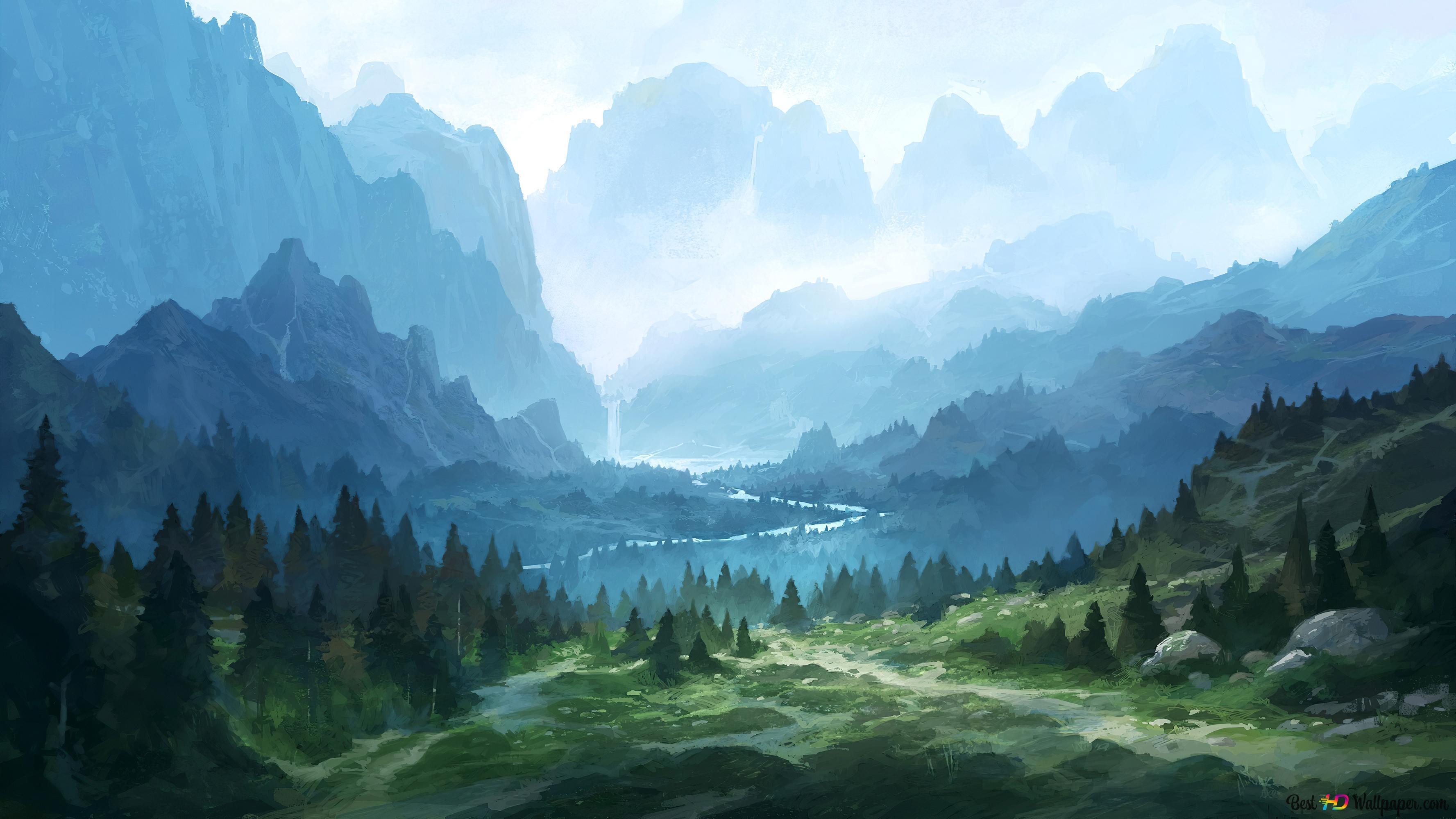 pemandangan artistik gunung hijau wallpaper 3554x1999 55129 53