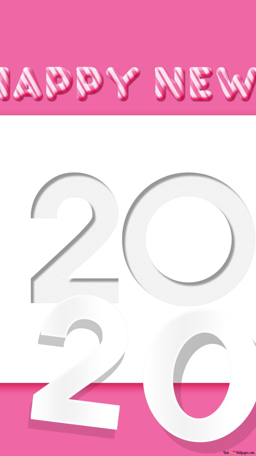 ピンクと白の背景に2020年への移行 Hd壁紙のダウンロード