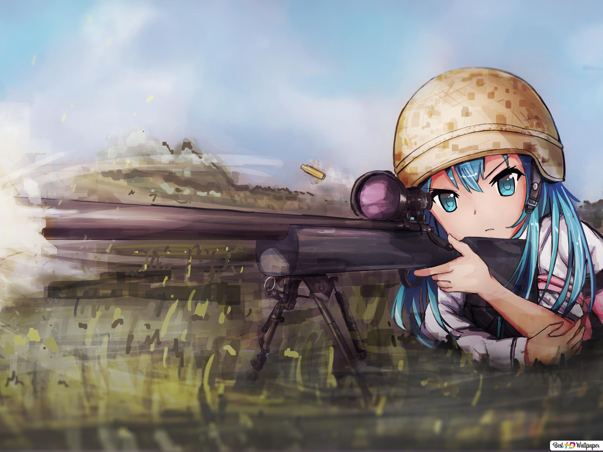 Playerunknown S Battlegrounds Pubg Mobile Anime Sniper Pubg Girl Hd Duvar Kagidi Indir
