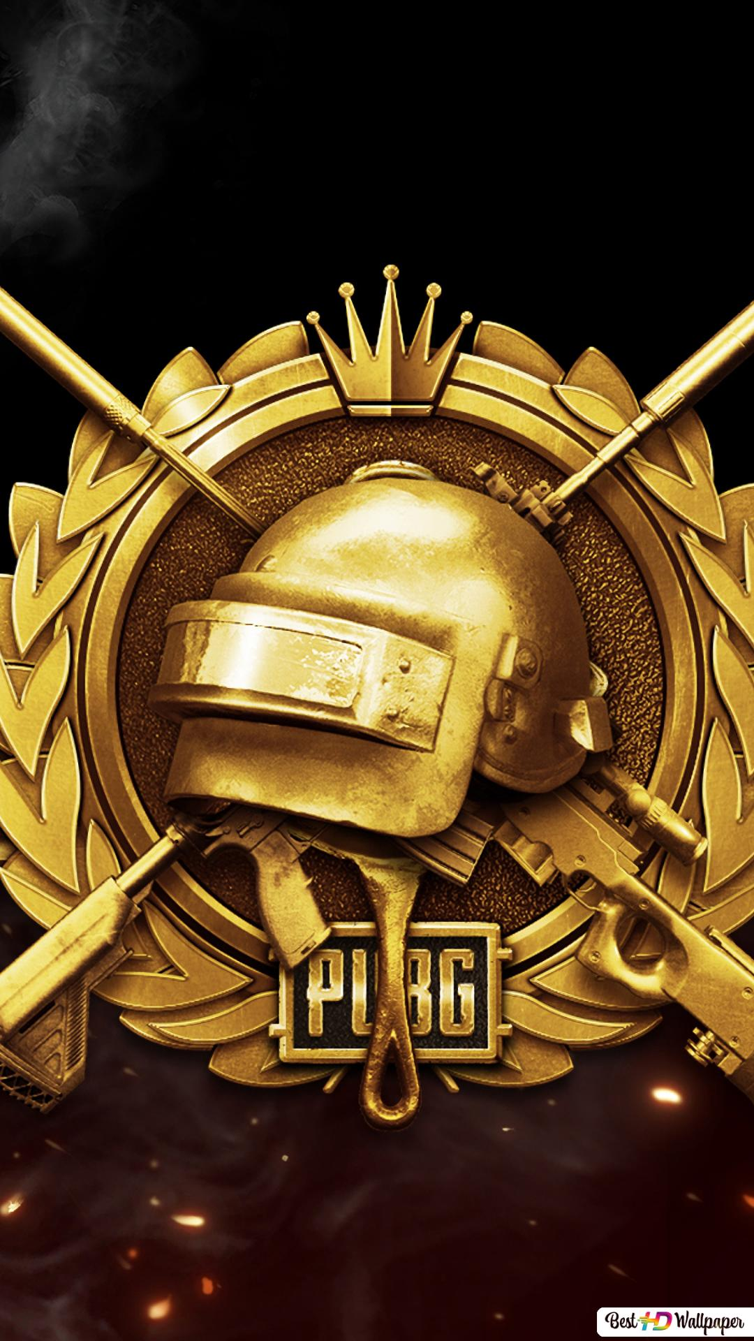 Playerunknown S Battlegrounds Pubg Mobile Golden Badge Logo Hd Wallpaper Download