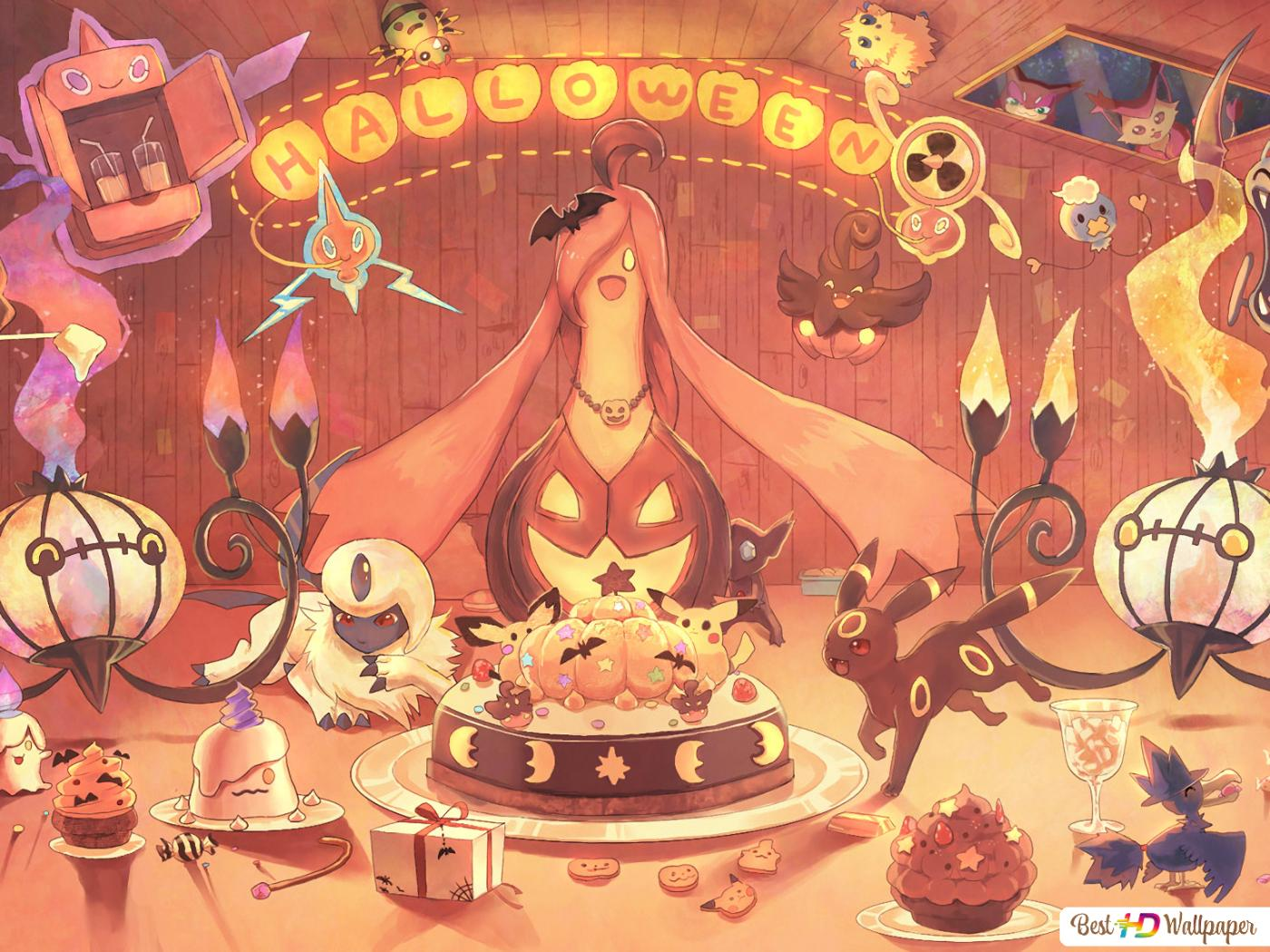 Pokemon Halloween Party Hd Wallpaper Download