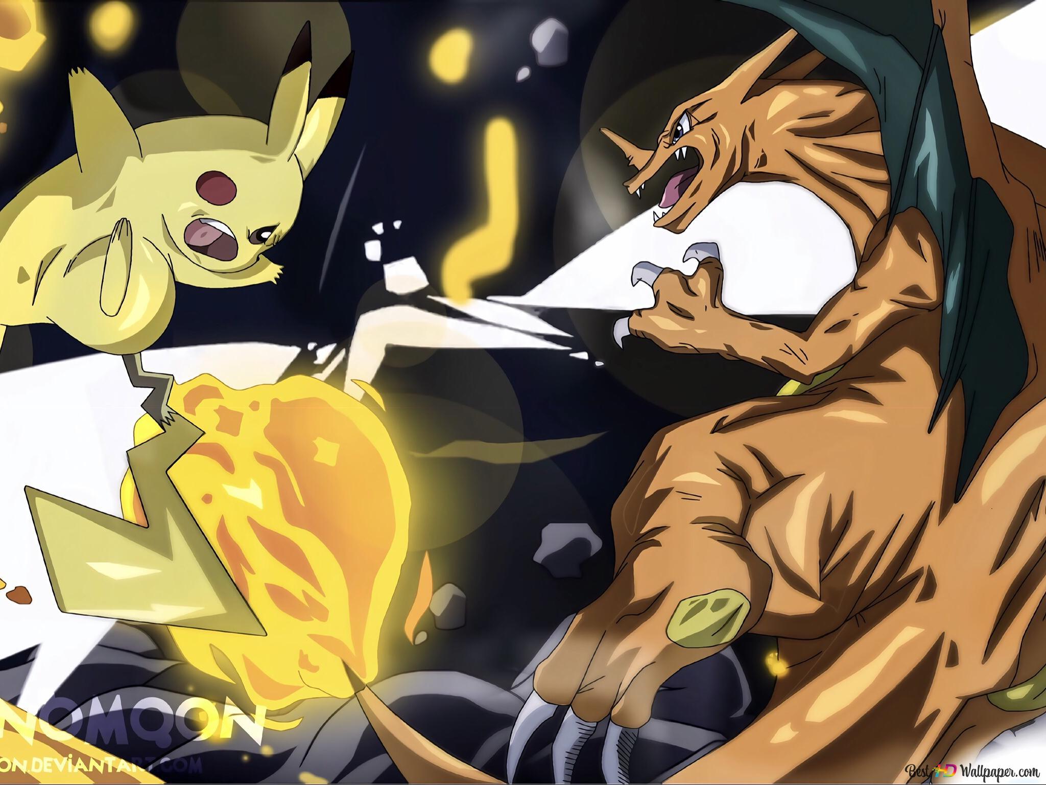 Pokemon Pikachu Vs Charizard Hd Wallpaper Download