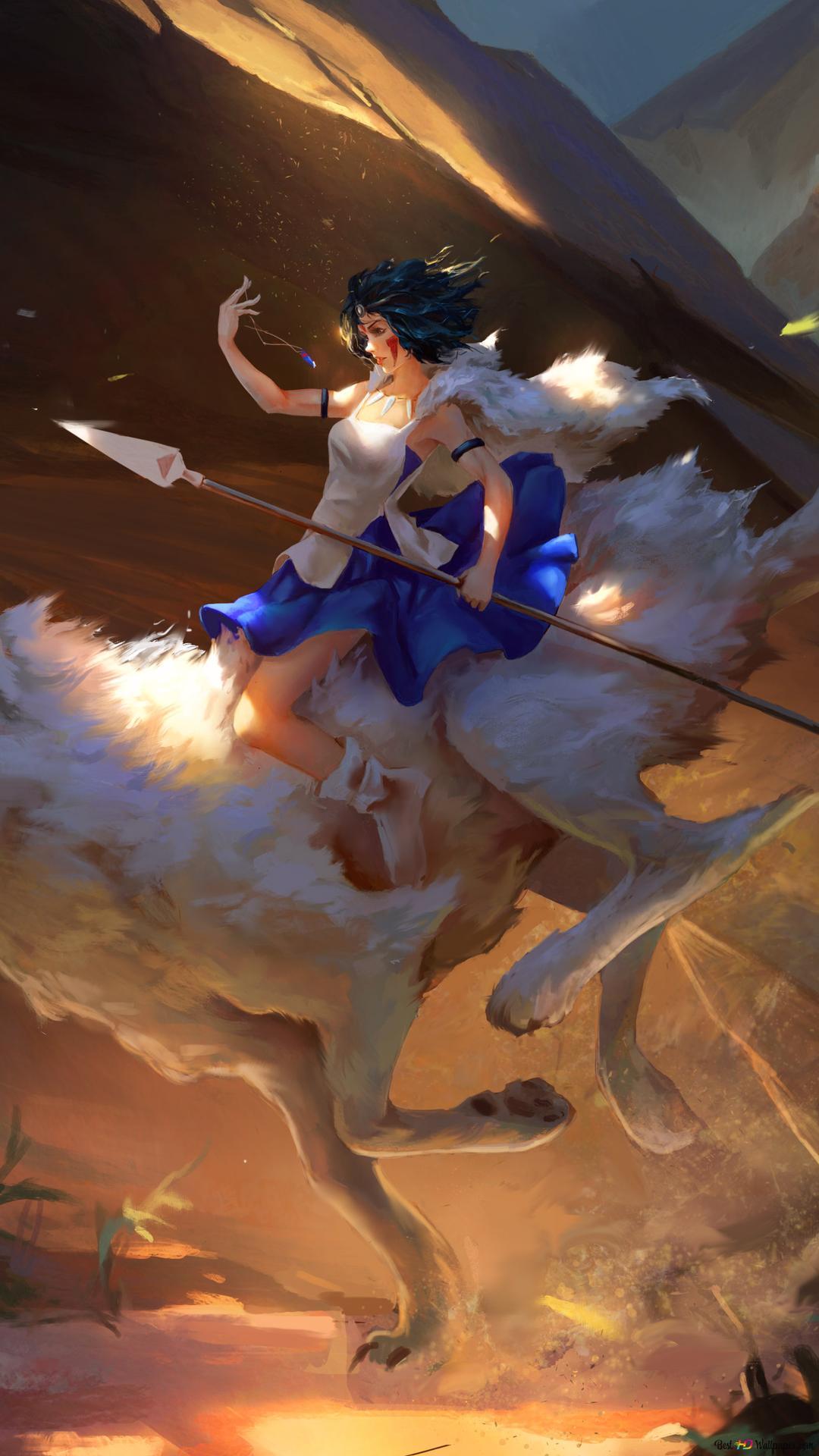 Princess Mononoke And Her Wolf Hd Wallpaper Download