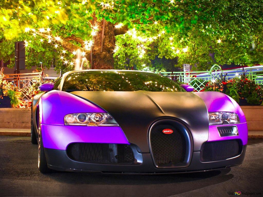 Purple Bugatti Veyron Sport Car Hd Wallpaper Download