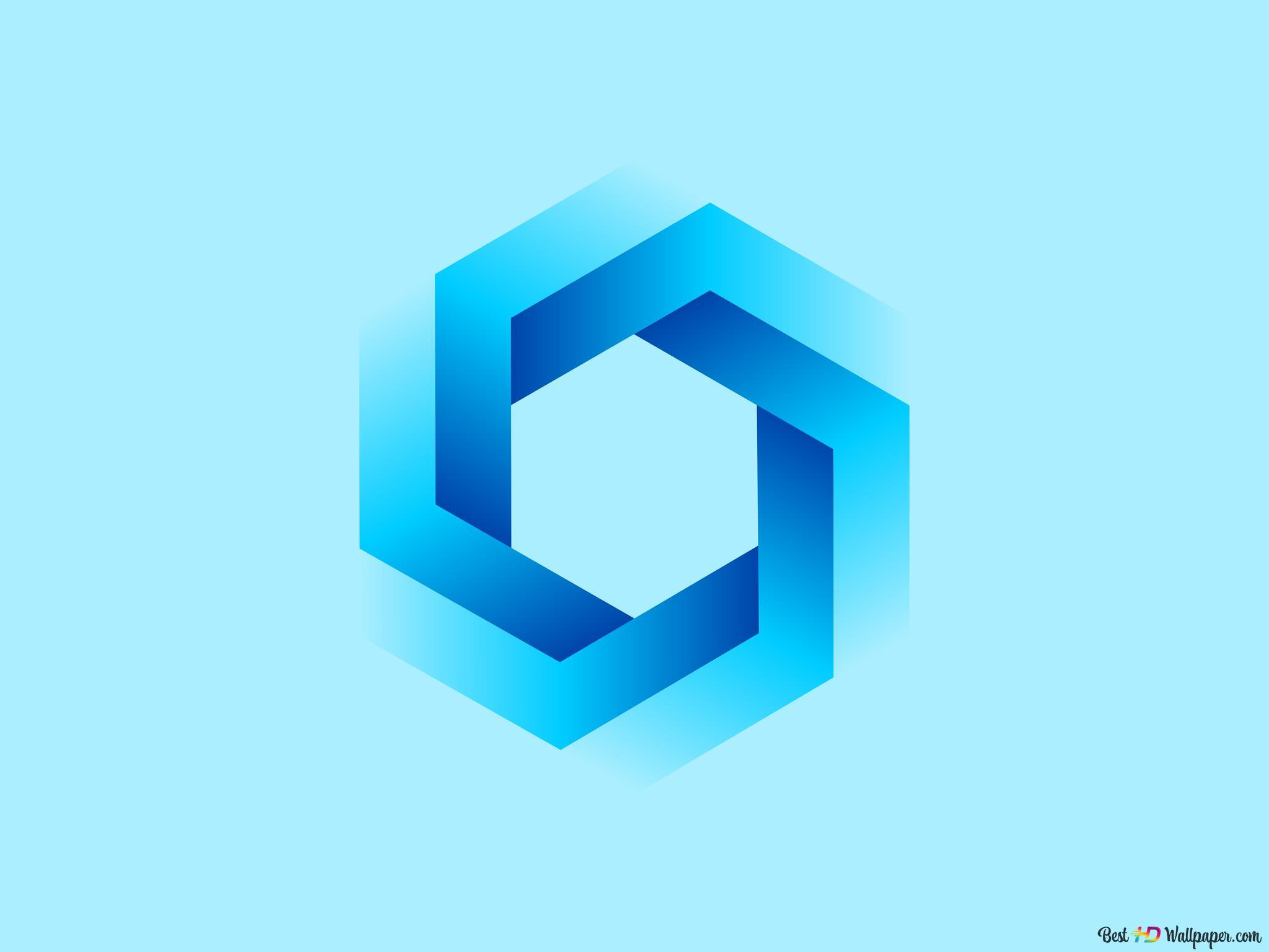 青い六角形のシンプルな壁紙 Hd壁紙のダウンロード