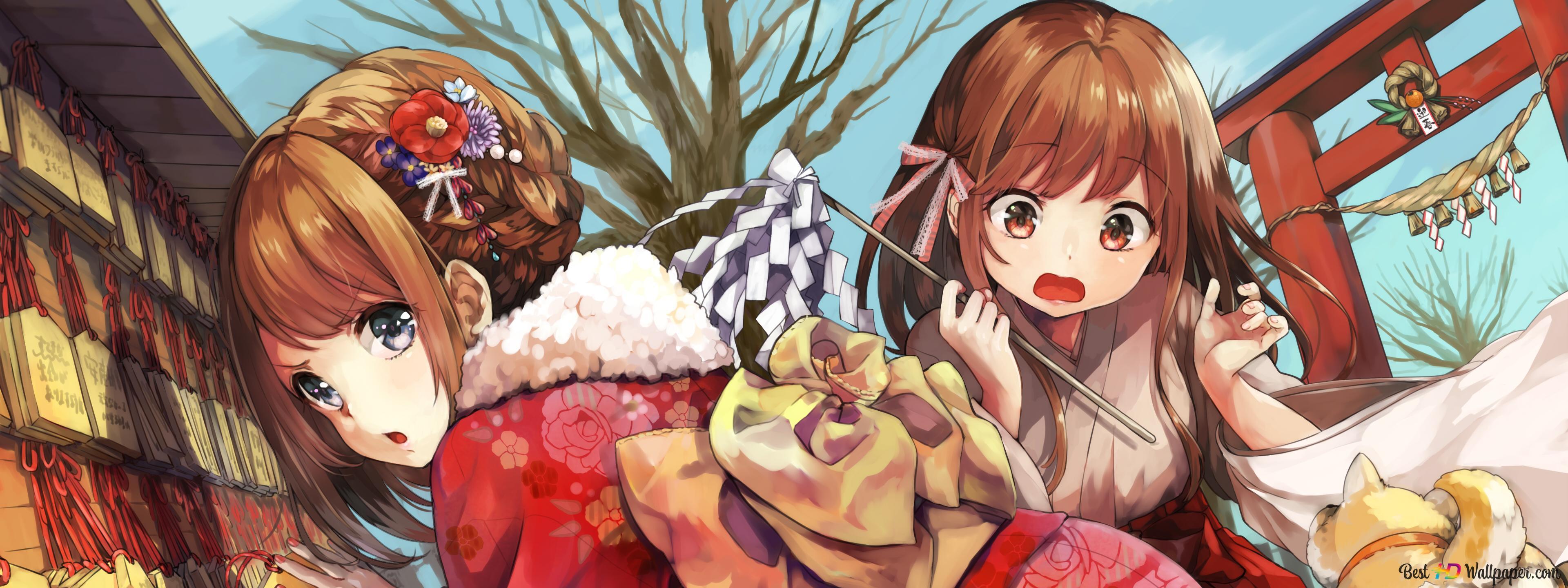 Ragazze Anime In Kimono Rosso Download Di Sfondi Hd