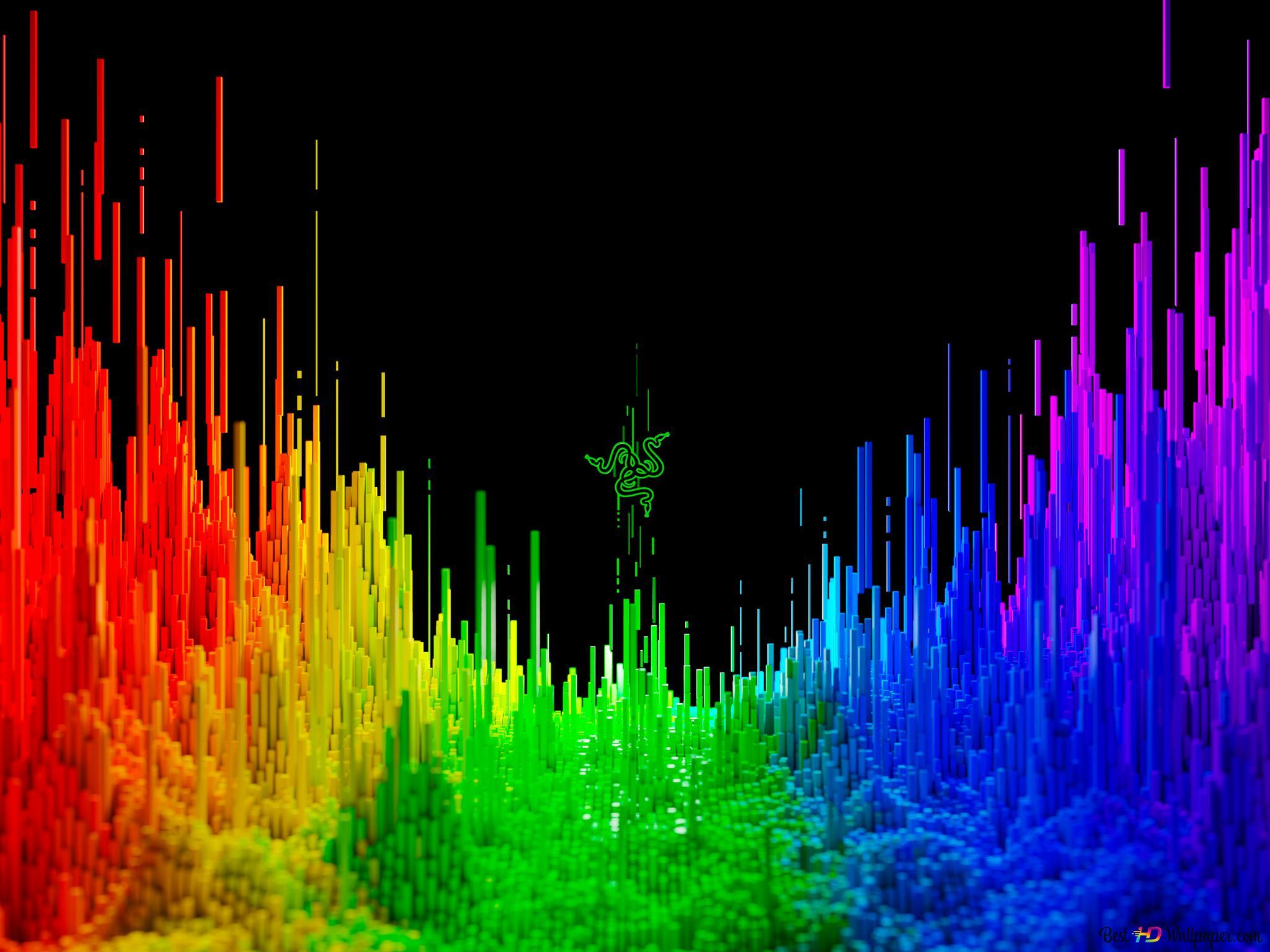 Razerのテクノロジーの3d虹の背景 Hd壁紙のダウンロード