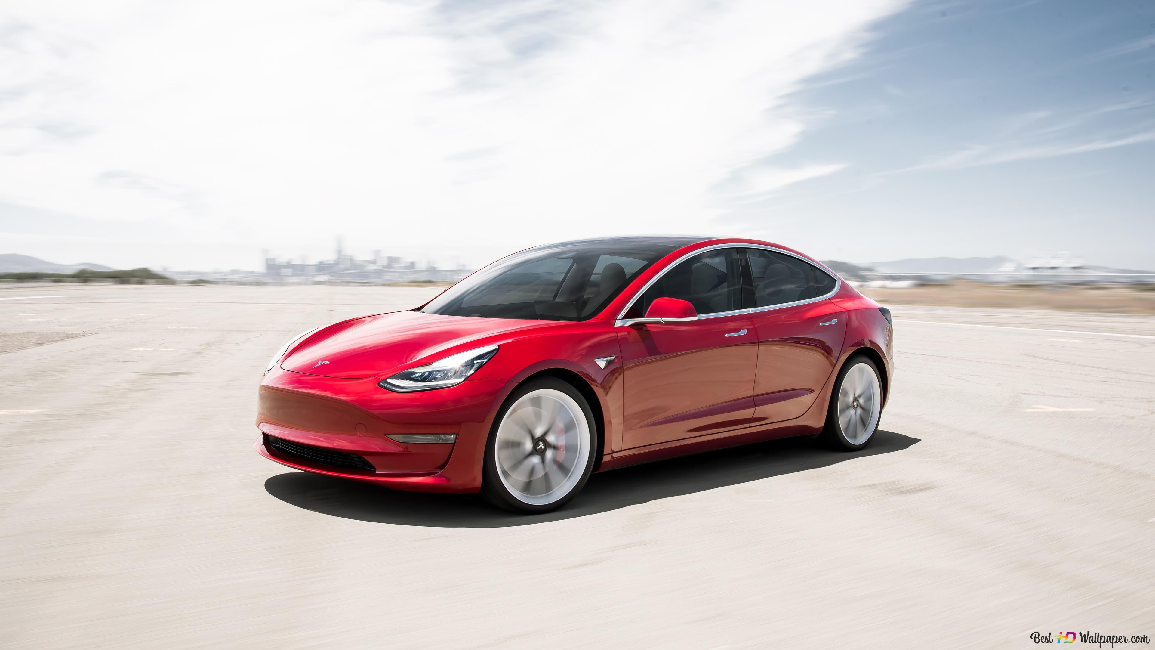 Red Car Tesla Model 3 Hd Wallpaper Download